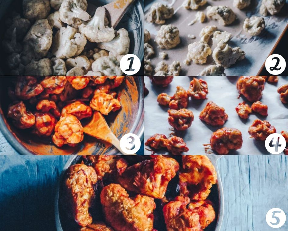 How to Make Cauliflower Wings step by step photos — Super hearty and delicious Sweet and Spicy BBQ Cauliflower wings! These gluten-free vegan cauliflower bites are baked to perfection with a delightful spicy sweet sauce. Whether as a party appetizer or meal, these baked cauliflower wings are certain to impress! #cauliflowerwings #bbqcauliflowerwings #cauliflowerbites #vegancauliflowerwings #glutenfreecauliflowerwings