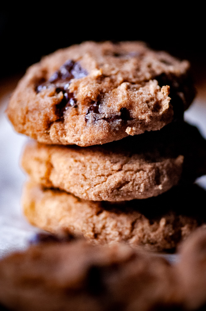 BANANA SWEETENED COCONUT FLOUR CHOCOLATE CHIP COOKIES by MOON and spoon and yum - These banana sweetened coconut flour cookies with 100% chocolate chips, make for one healthy no sugar added baked treat without any of the guilt! Gluten-free, dairy-free, refined sugar-free, low-carb + keto diet option.