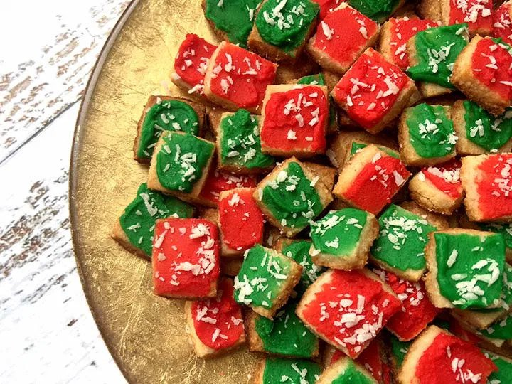 LOW-CARB/KETO SHORTBREAD COOKIE BITES by Resolution Eats - These colorful cookies also incorporate almond for a sugar-free, guilt-free treat!