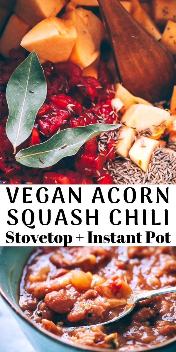 This super easy, healthy and delicious vegetarian chili recipe is packed with acorn squash, pinto beans and the perfect blend of spices for a most hearty and comforting autumn-inspired Instant Pot pressure cooker dish! #instantpotvegetarianchili #instantpotacornsquash #acornsquashchili #instantpotpintobeans