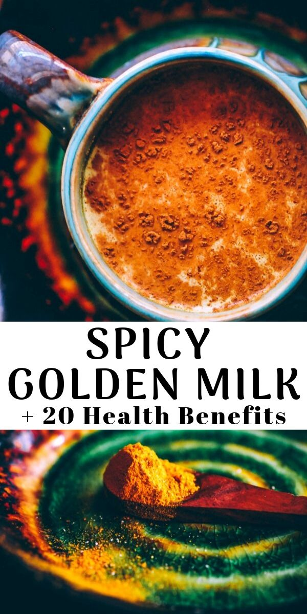 A soothing and healing spicy golden milk (turmeric tea) with amazing health benefits! Vegan & gluten-free. #goldenmilk #spiced #spicy #spicygoldenmilk #turmeric #turmerictea #drink #beverage #healthy #ayurveda #antiinflammatory #vegan