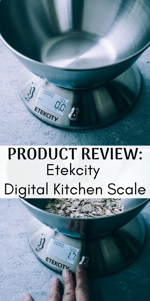 Etekcity Digital Kitchen Scale : A Product Review - An 11 lb capacity electronic kitchen scale with a detachable stainless steel measuring bowl, tare and auto-zero functions, a thermometer, alarm timer, and a metric conversion function. #kitchenscale #metricmeasurements #etekcity #productreview #digitalkitchenscale #electronickitchenscale