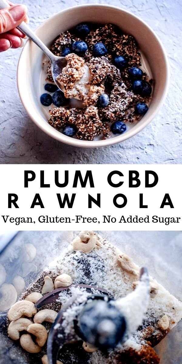Plum CBD Rawnola (Vegan, Gluten-Free, No Added Sugar) -  This fun CBD recipe features an easy, healthy and delicious Plum Rawnola that is made with a blend of dried plums, oats, cashews, coconut, and chia seeds for a nutrient dense treat that is also gluten-free, dairy-free, vegan, soy-free, and refined sugar-free. This yummy Rawnola can also be made into bliss balls for a delightful twist! #rawnola #cbd #cbdrecipes #rawnolarecipe #driedplums #cbdrawnola
