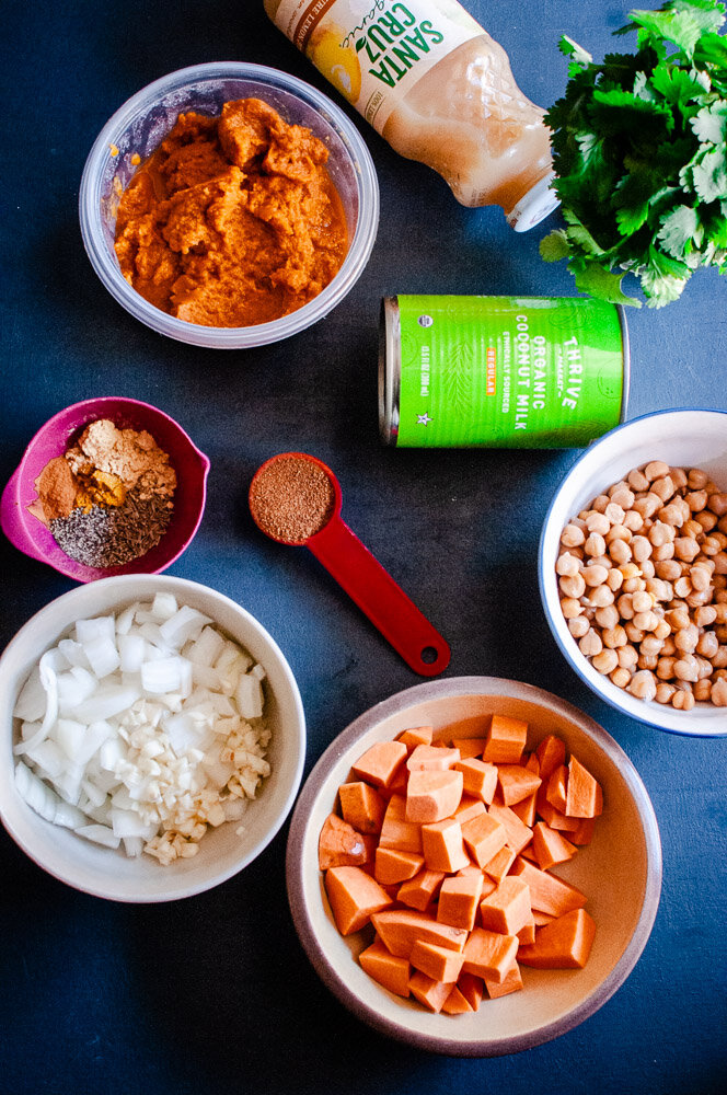 Instant Pot Pumpkin Chickpea Sweet Potato Curry (Vegan, Gluten-Free) -  This utterly delicious, healthy and creamy Sweet Potato Curry with Chickpeas and Pumpkin is truly a delight for the soul! With coconut milk and the perfect blend of Indian spices, you'll find yourself in curry heaven with this rich vegan curry dish for the Instant Pot (or stovetop!). #instantpotcurry #sweetpotatocurry #pumpkincurry #instantpotpumpkin #instantpotchickpeacurry | pumpkin curry | chickpea curry