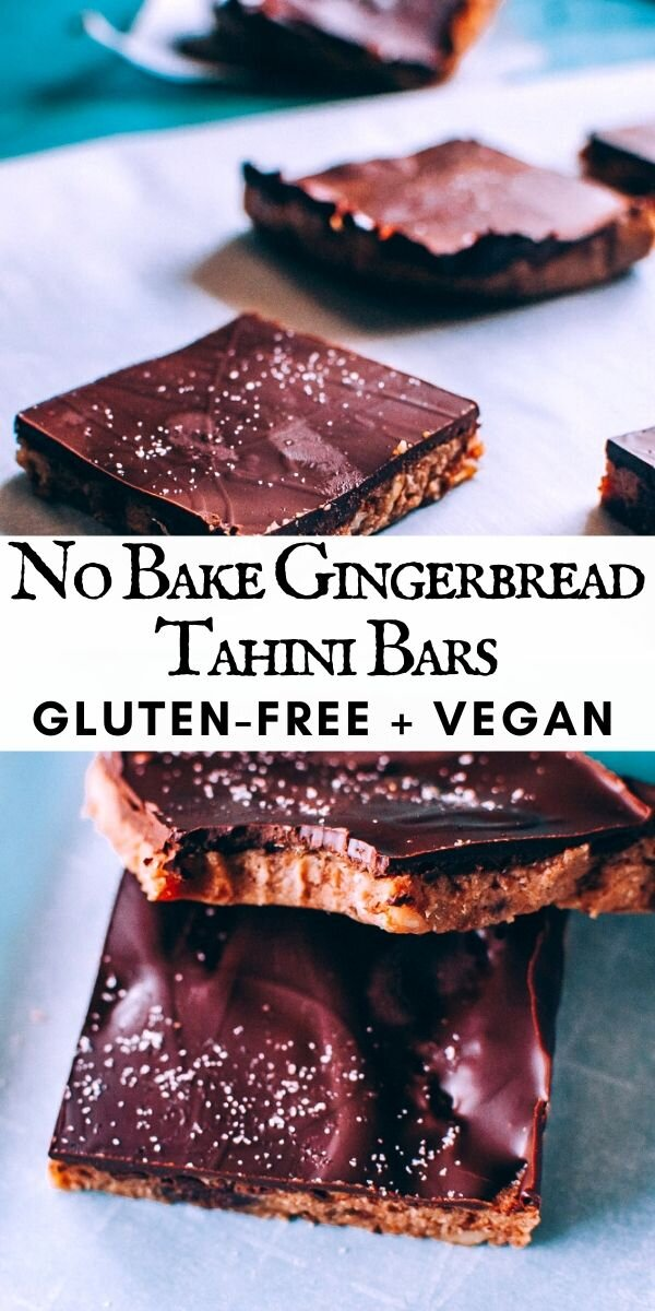 No-Bake Chocolate Covered Tahini Gingerbread Bars (Vegan, Gluten-Free) -  These no bake Gingerbread Bars with a luscious tahini base and rich chocolate topping are packed with layers of flavor and pleasing textures. These delicious and healthy bars are gluten-free, vegan and make the perfect autumn or winter treat! #glutenfreenobakebars | gluten free no bake bars | #gingerbreadbars #tahinibars | tahini bars
