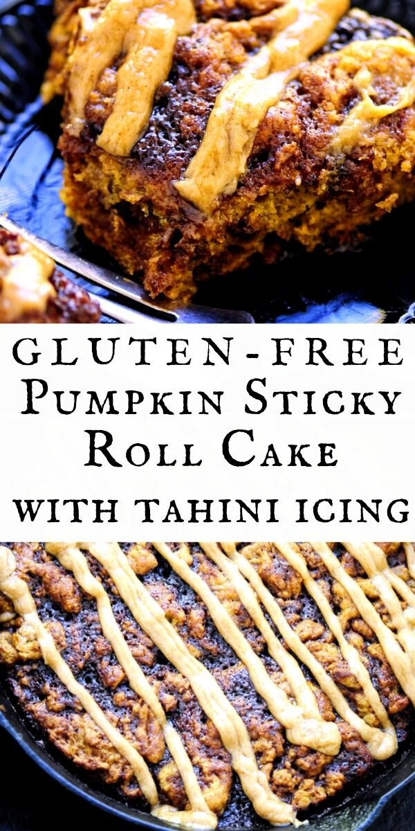 Light, chewy and fluffy pumpkin filled sticky roll skillet cake topped with a tasty cinnamon and cream cheese flavored tahini frosting. This decadent and delicious dessert makes a delightful gluten-free autumn treat! #glutenfreepumpkin #pumpkincake #glutenfree #stickyrolls #cinnamon #tahini #creamcheese #refinedsugarfree #autumndessert