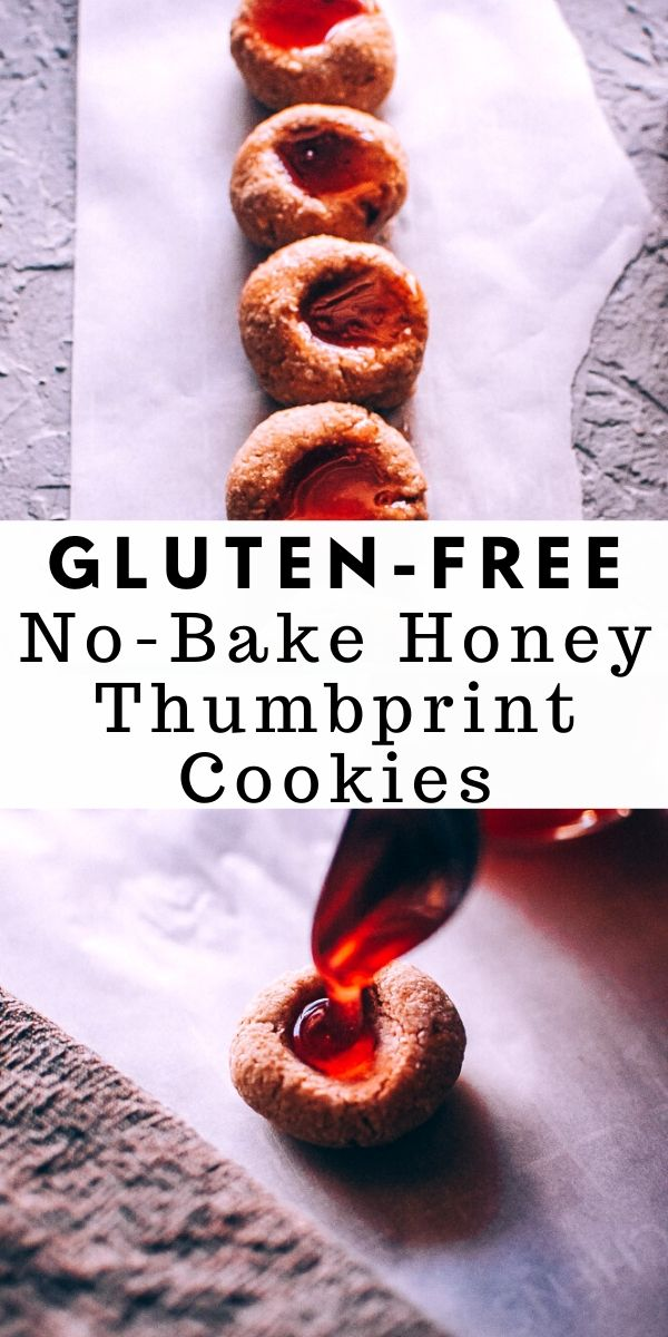 Super easy, healthy and delicious Gluten-Free No-Bake Thumbprint Cookies filled with luscious raw honey. This delighfully chewy raw cookie base is made with a blend of oats, coconut flour and cashews, sweetened with dates and topped with Hibiscus + Elderberry Infused Honeys for a most healthy treat! #nobakecookies #thumbprintcookies #nobakethumbprintcookies #honeycookies #glutenfreethumbprintcookies #rawcookies | raw cookies | honey cookies | no bake cookies | gluten free thumbprint cookies