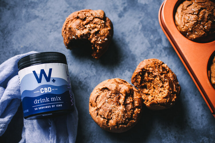 CBD Gingerbread Muffins (Gluten-Free, Vegan) -  Super soft and fluffy Vegan Gluten-Free Gingerbread Muffins packed with flavor and the addition of Weller's amazing water-soluble CBD powder! Made with a touch of sorghum flour, these deliciously warm spiced muffins are also free of refined sugar and rich in fiber. #gingerbreadmuffins #glutenfreegingerbreadmuffins #cbdrecipes #vegangingerbreadmuffins | Gluten free gingerbread muffins | CBD muffins | Vegan gingerbread muffins | CBD recipes
