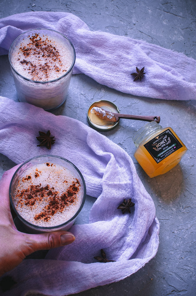 CBD Eggnog (Dairy-Free) - This rich and creamy Dairy-Free Eggnog recipe is elevated to a whole other level with the use of Naturacentric's CBD Honey! With a touch sweet and a touch of spice, this healthy and flavorful eggnog will be your new go-to all season long. #CBDeggnog #Dairyfreeeggnog #raweggnog #traditionaleggnog #cbd #cbdrecipe #cbddrinks #cbdrecipes #cbdpowder | Raw eggnog | dairy free eggnog | CBD eggnog