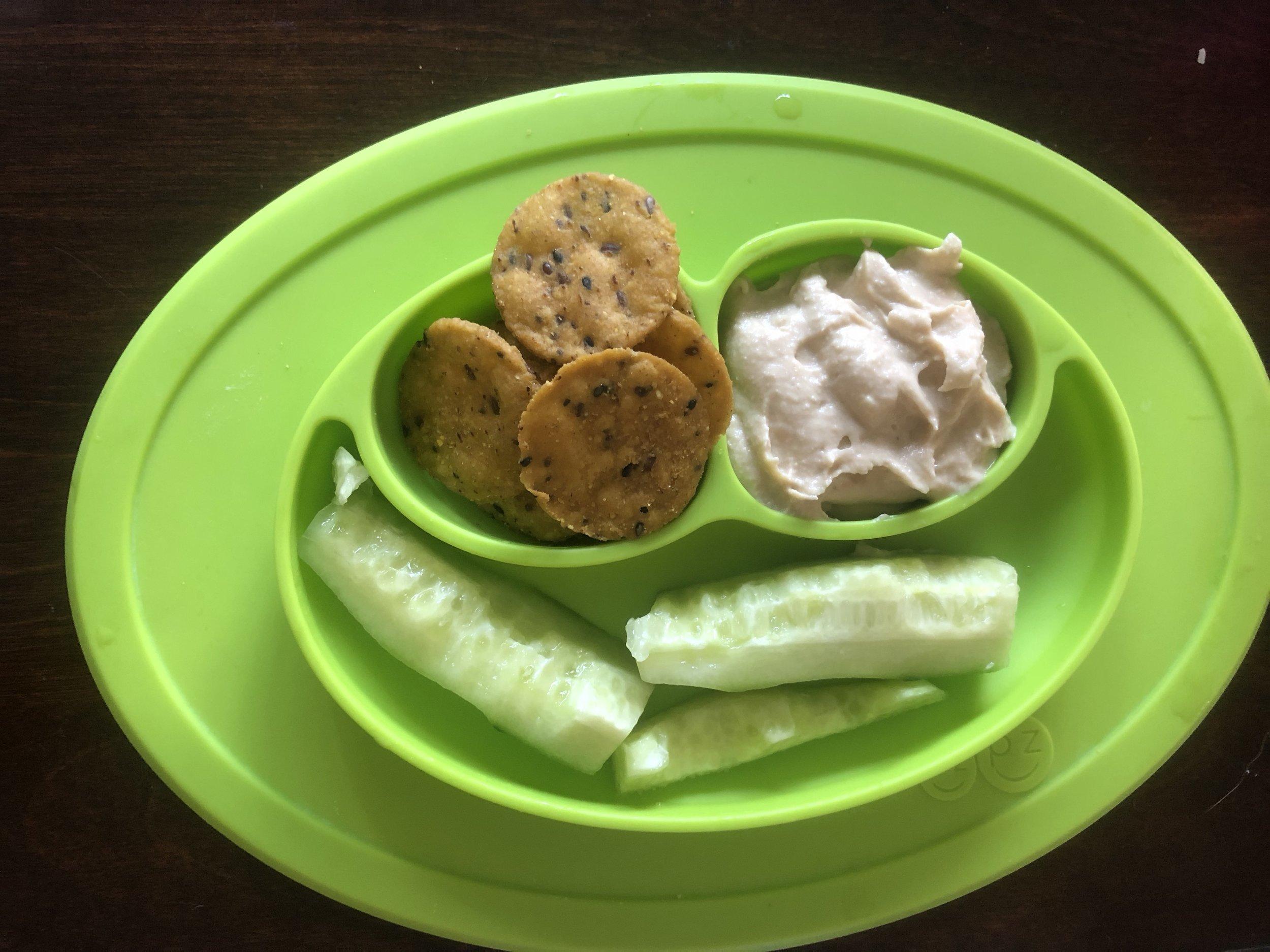 sweet potato crackers, garlic hummus and cucumbers