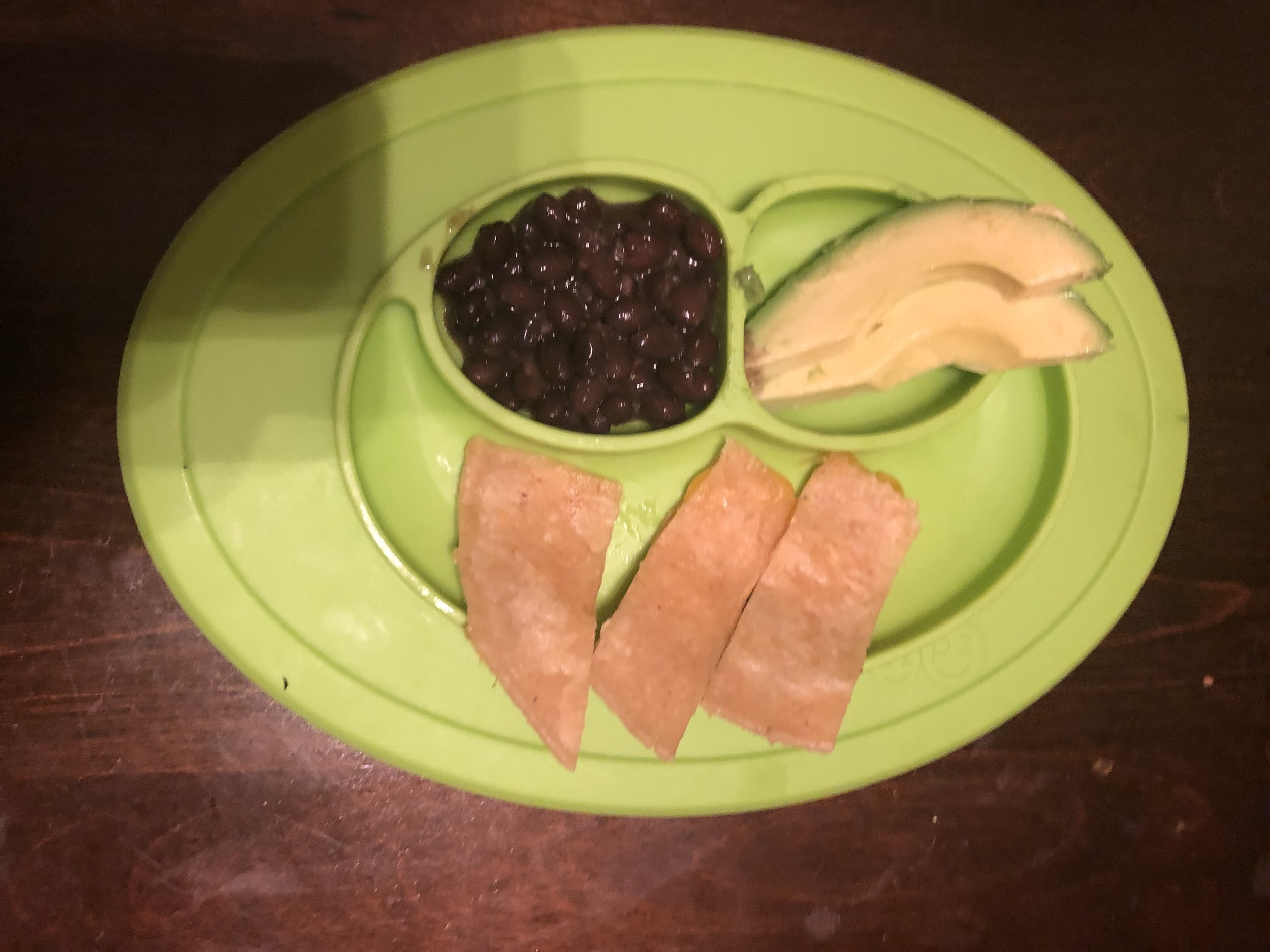 quesadillas, beans and avocado