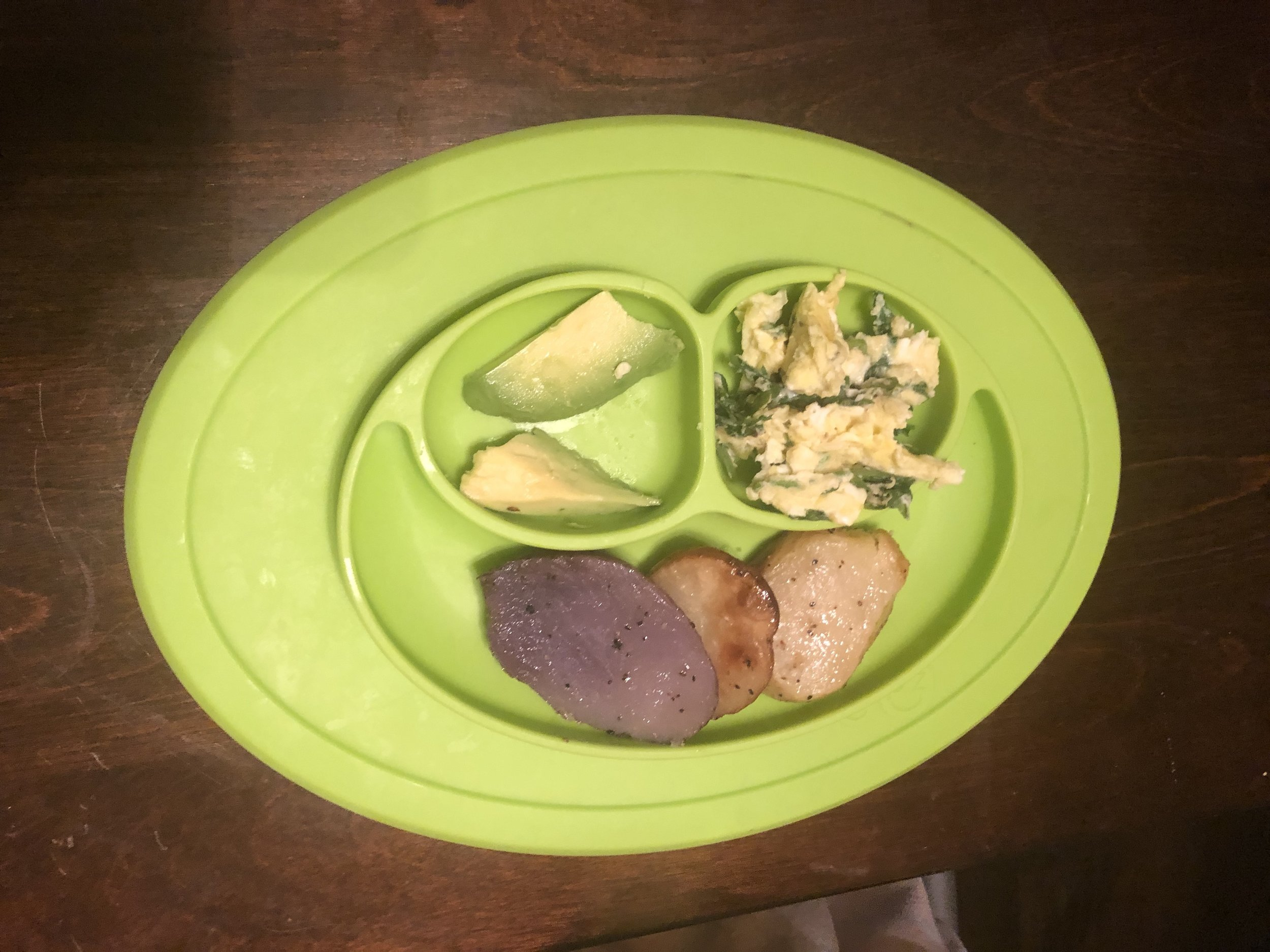 potatoes, avocado and eggs with spinach