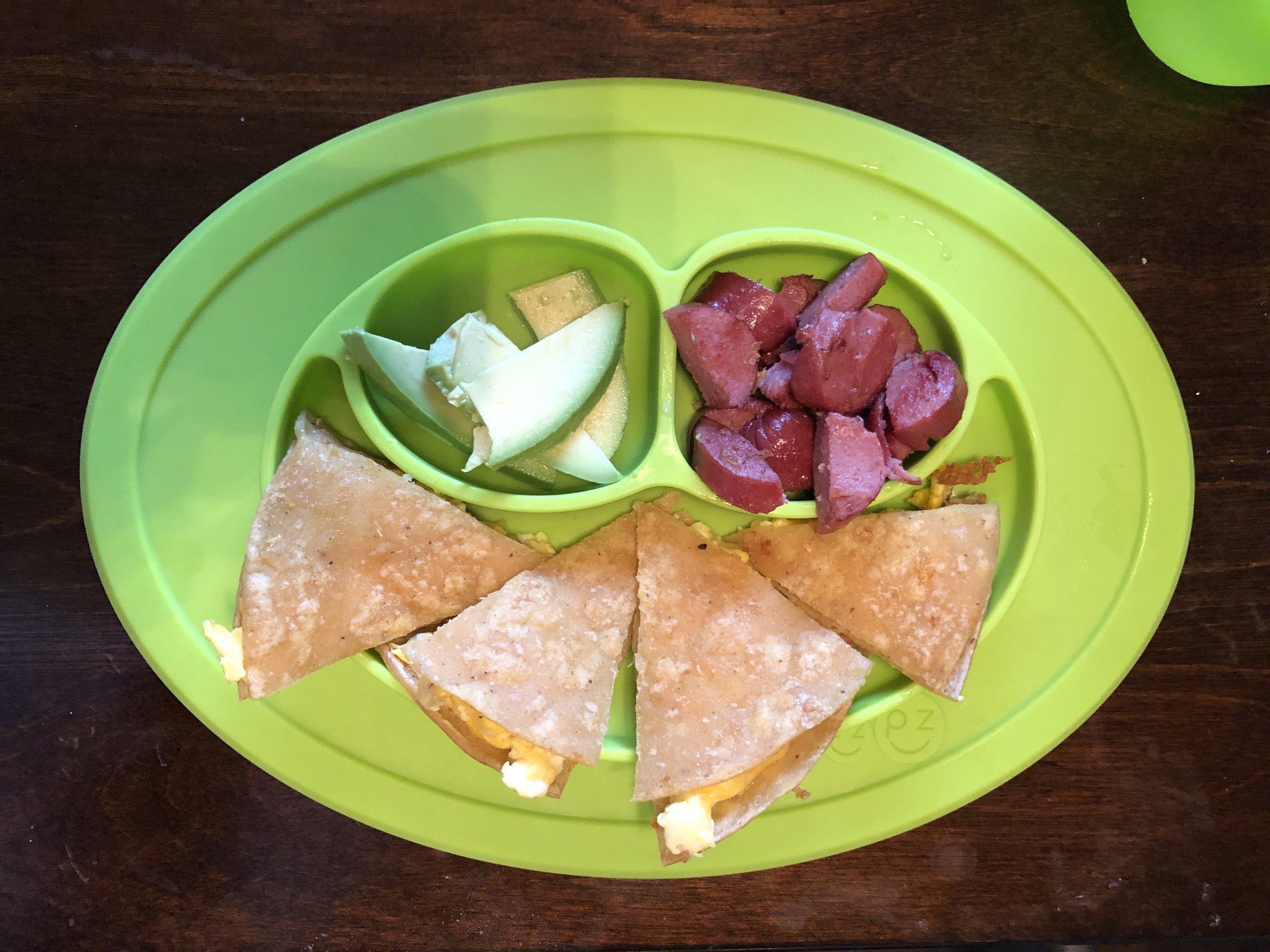 quesadilla, beef hot dog and avocado