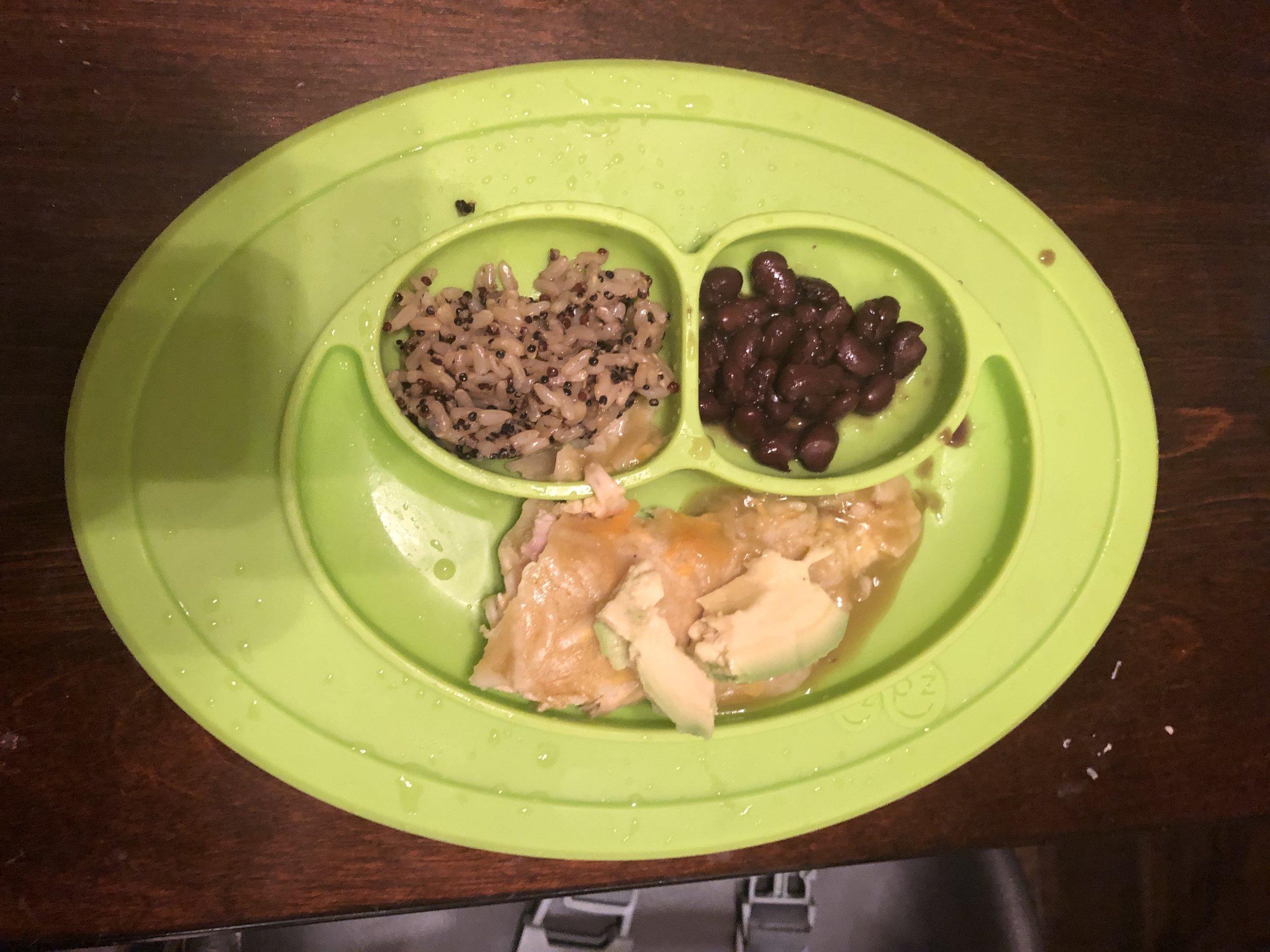 paleo enchiladas, rice and beans