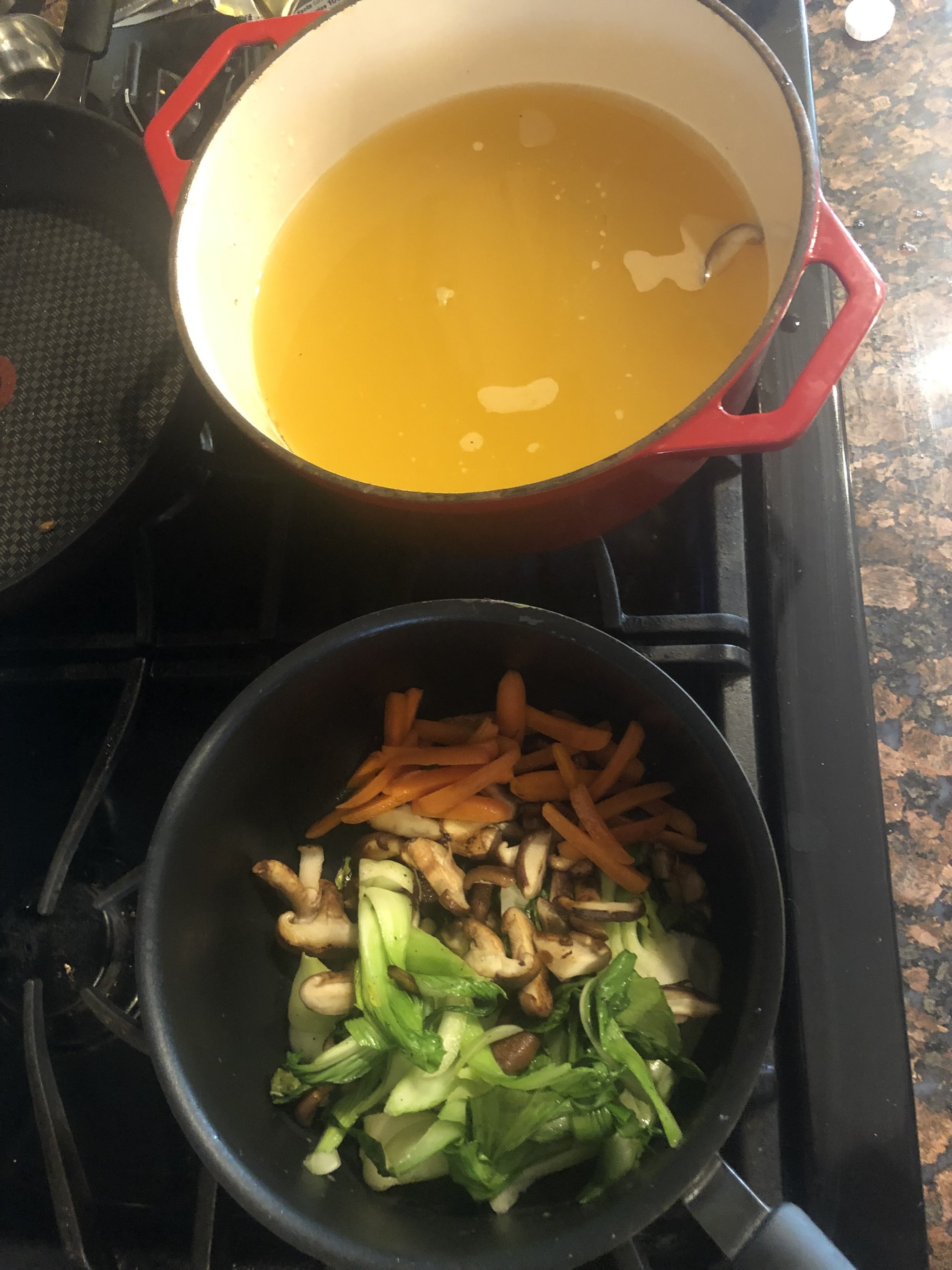 prepped all of the veggies and heating up the broth about to add the noodles!