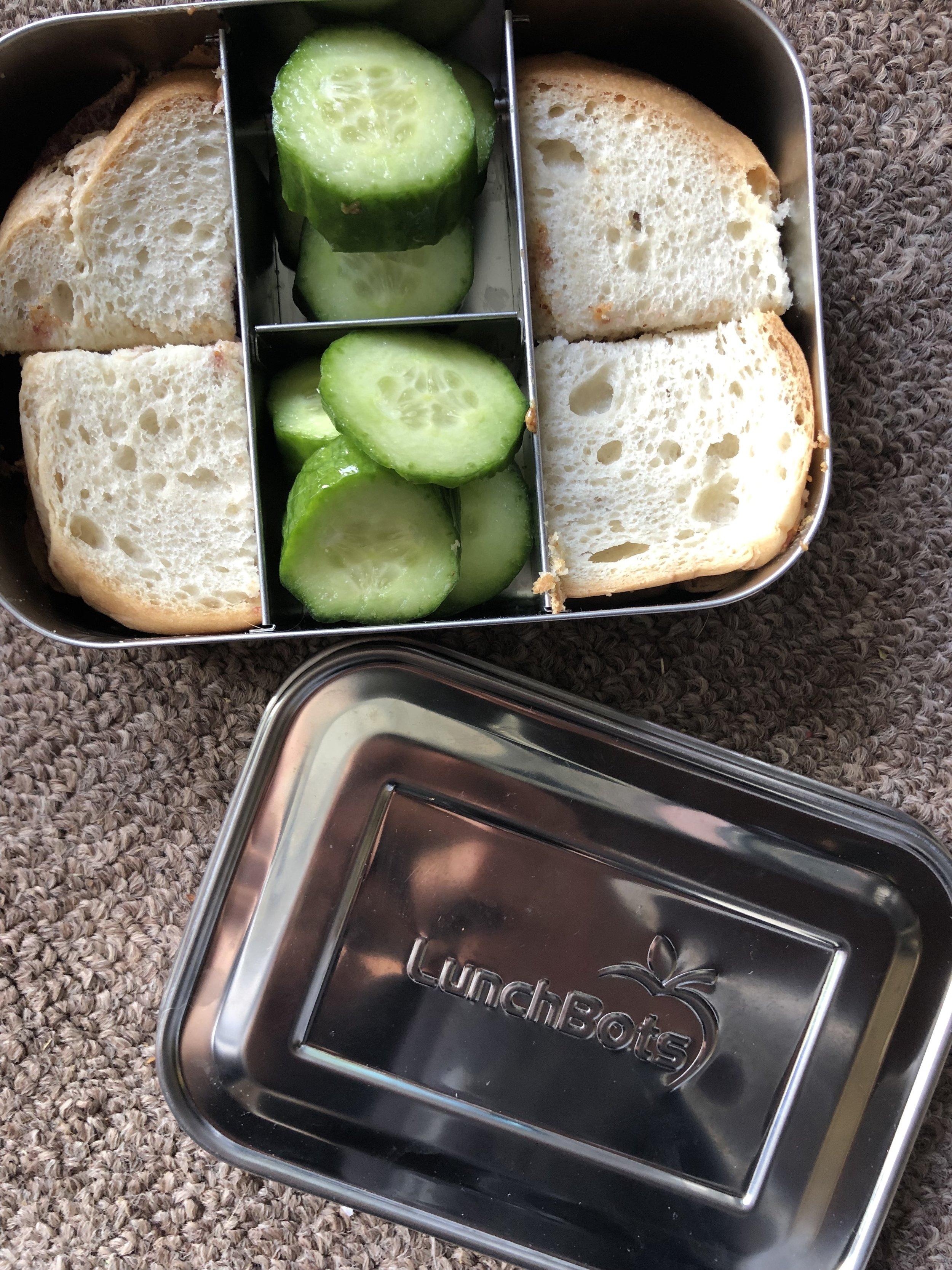 nuttzo spread sandwhich on Skaar gluten free bread, cucumbers.