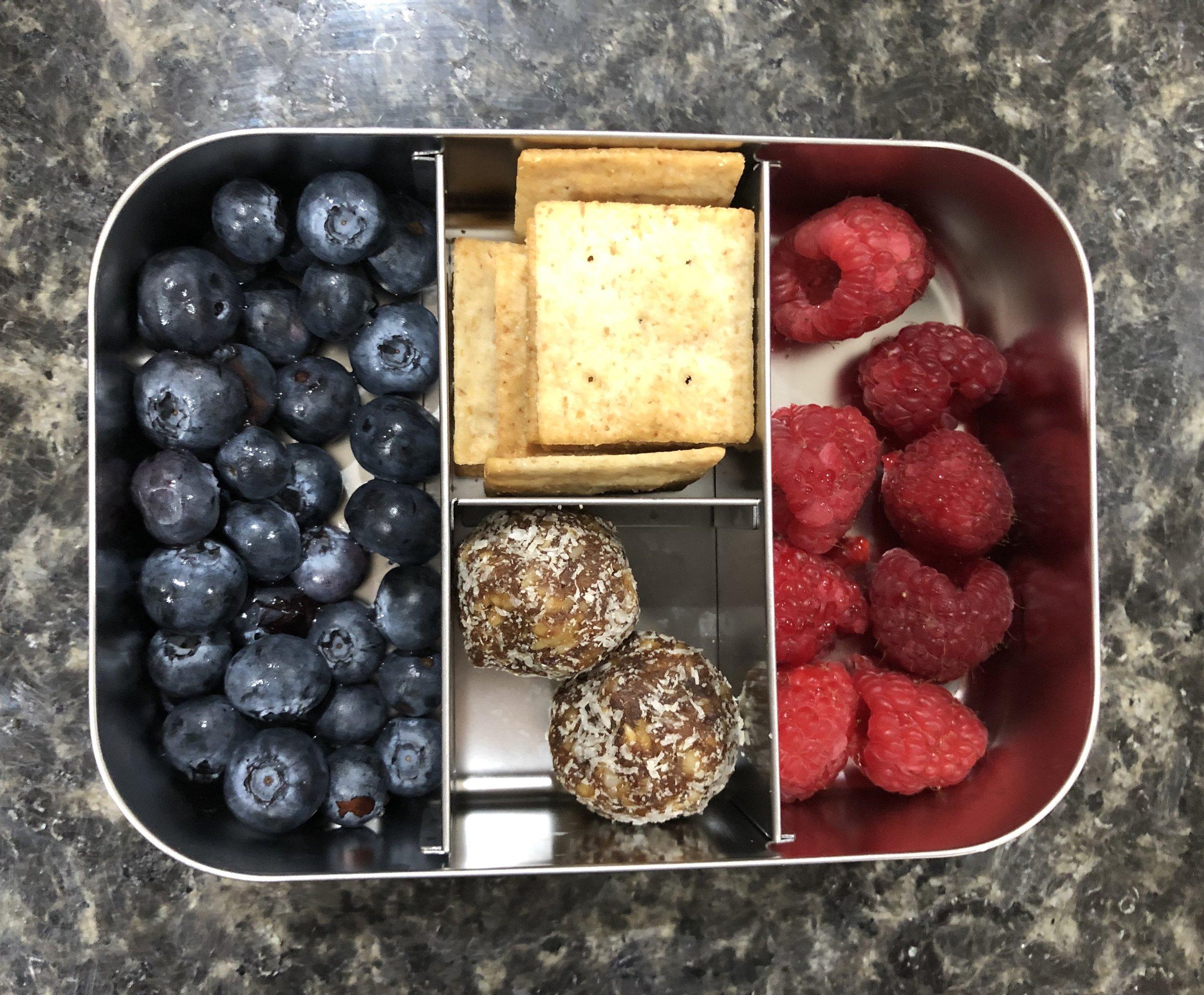 blueberries, paleo crackers, mango bites, raspberries