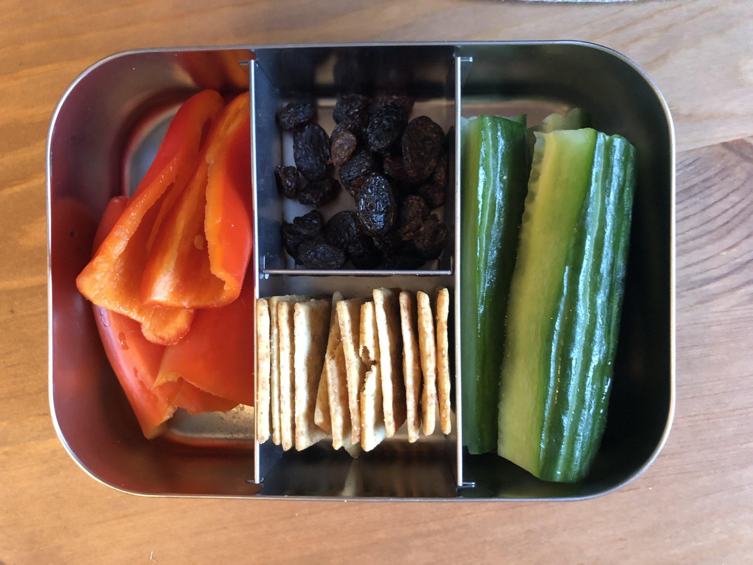 peppers, cucumbers, paleo crackers, raisins
