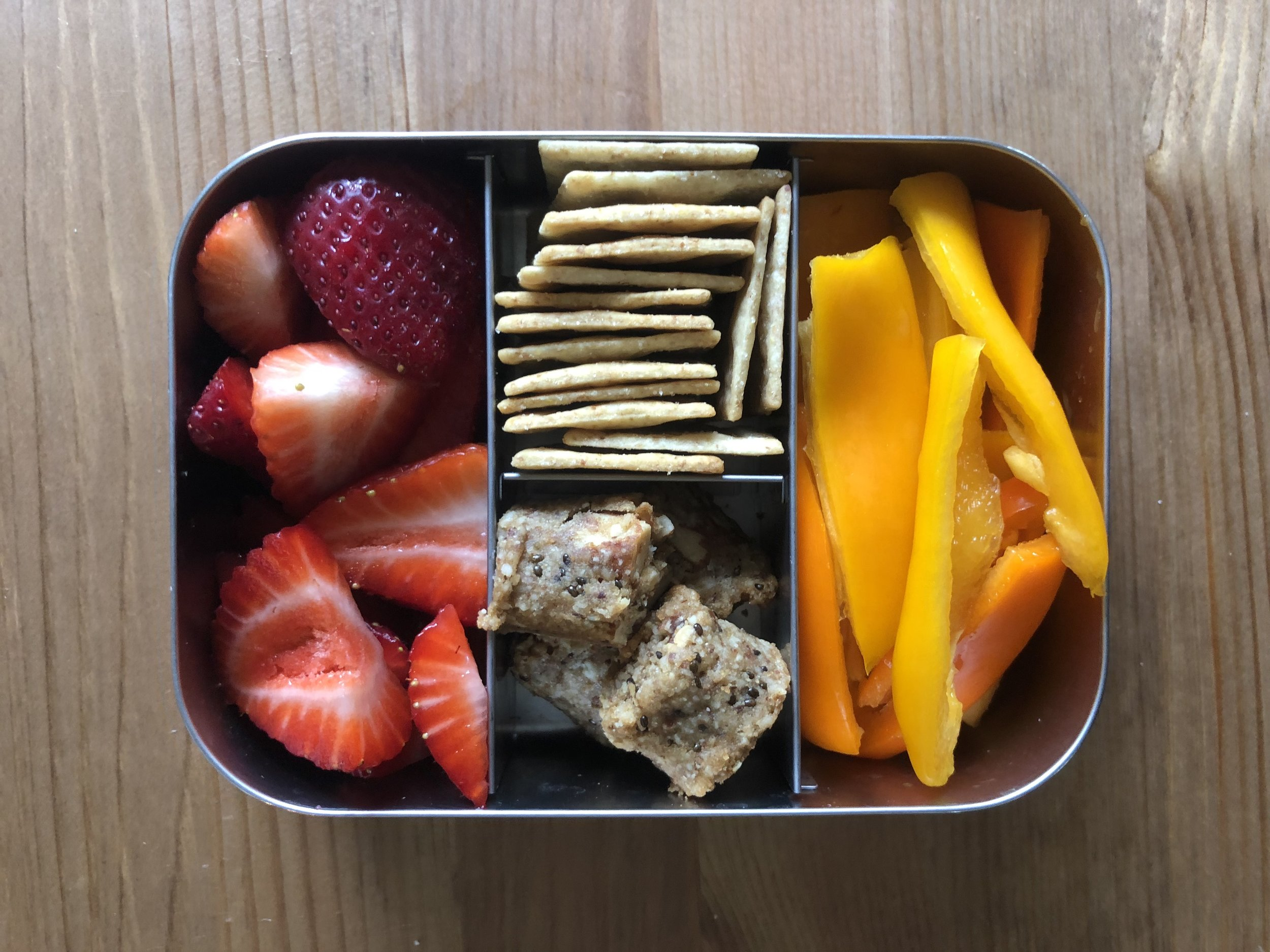 paleo bites, strawberries, crackers, peppers