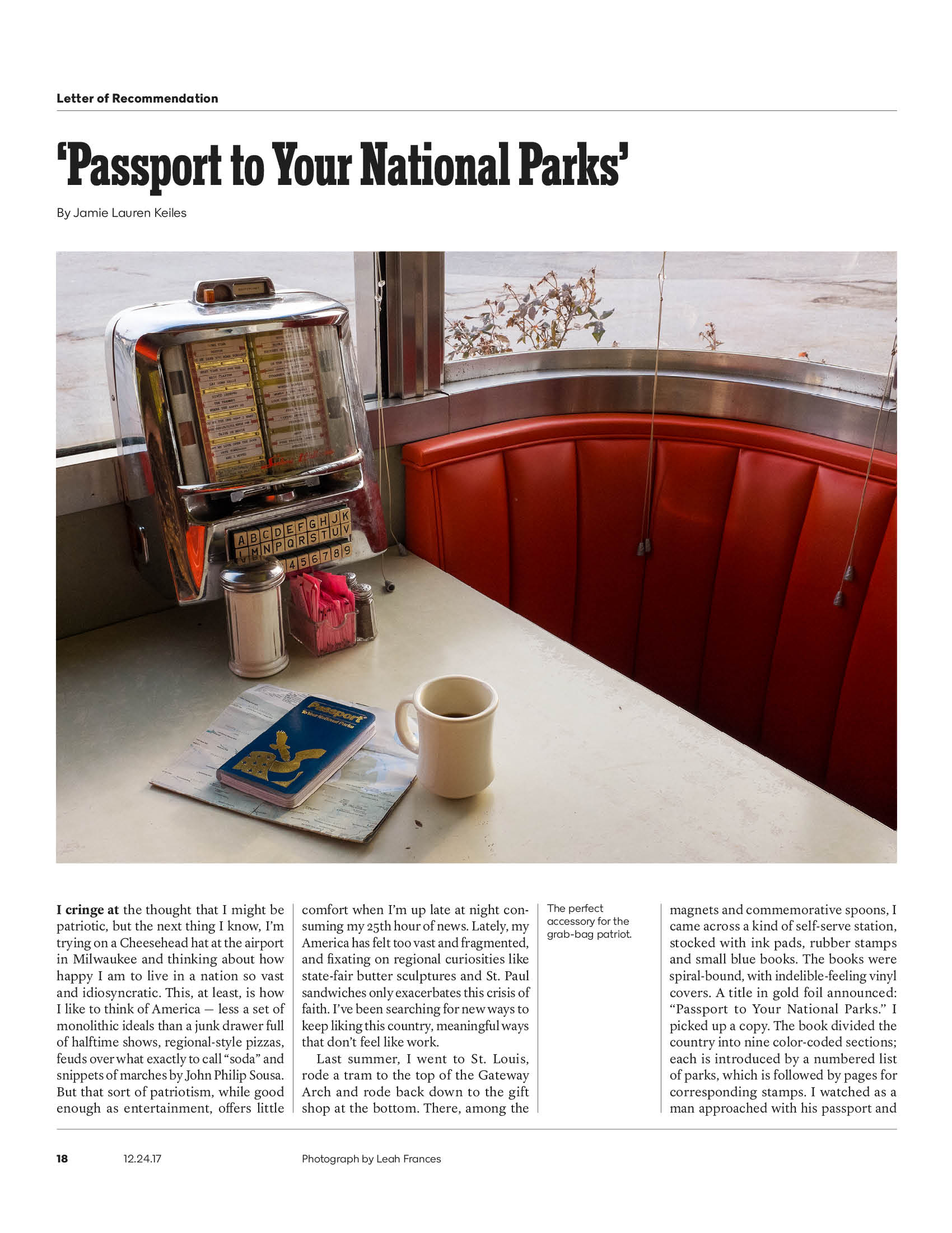 """The New York Times Magazine, """"Letter of Recommendation,"""" 12.24.17"""