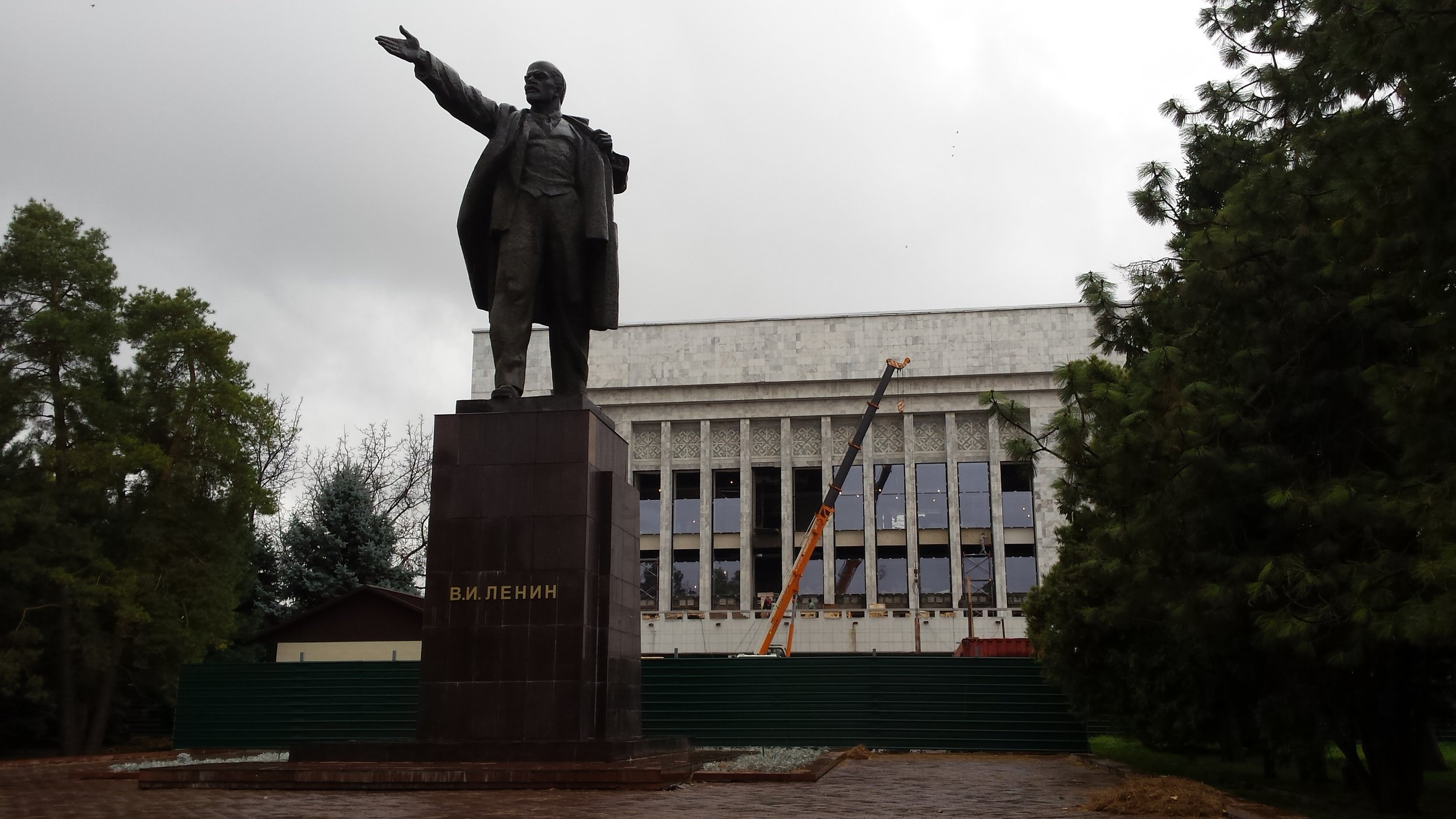 He may be relagated to behind the main square today, but he's still casting his net wide. Lenin in Bishkek.