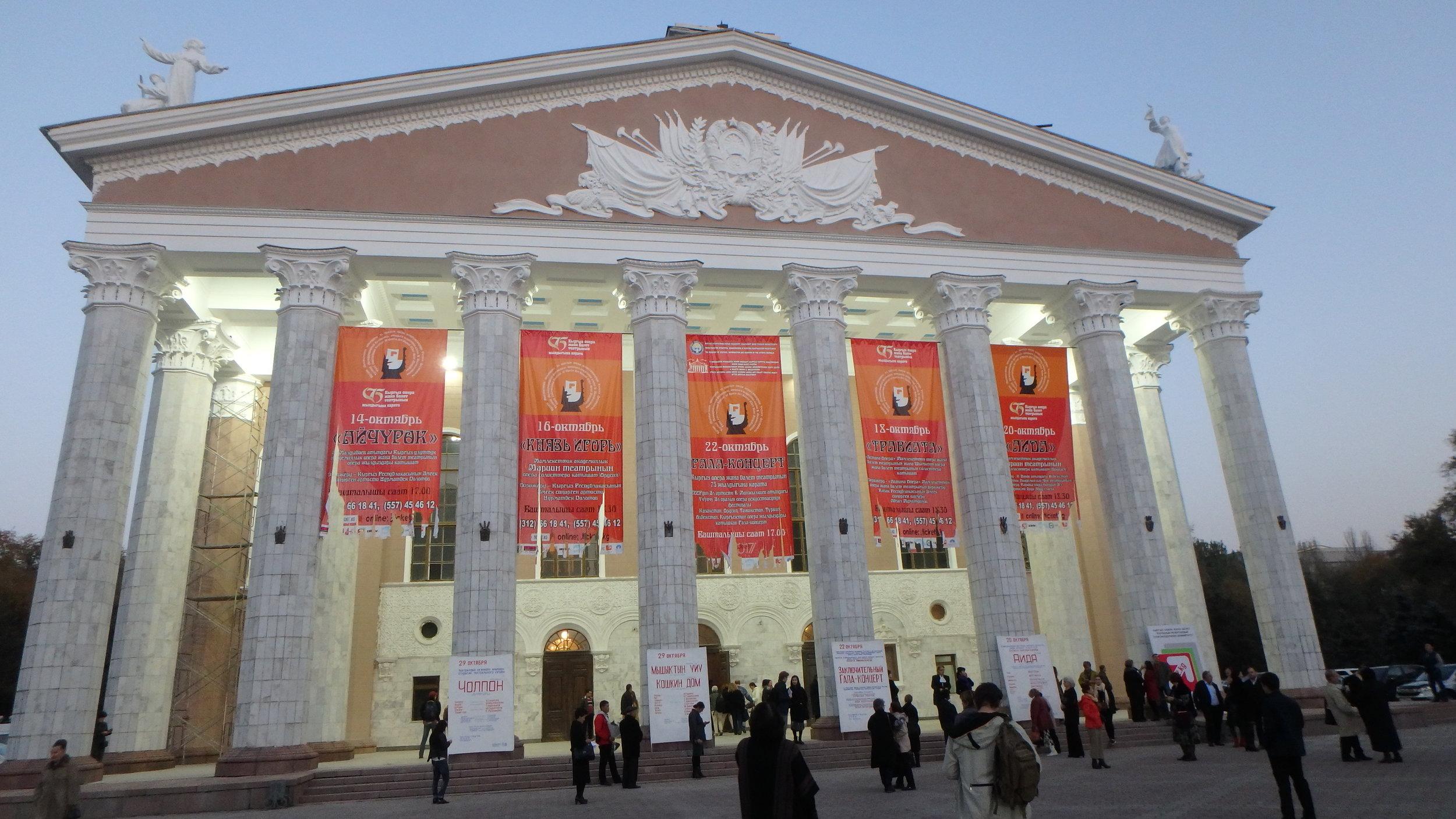 Bishkek Opera House, anticipating an evening of Aida.