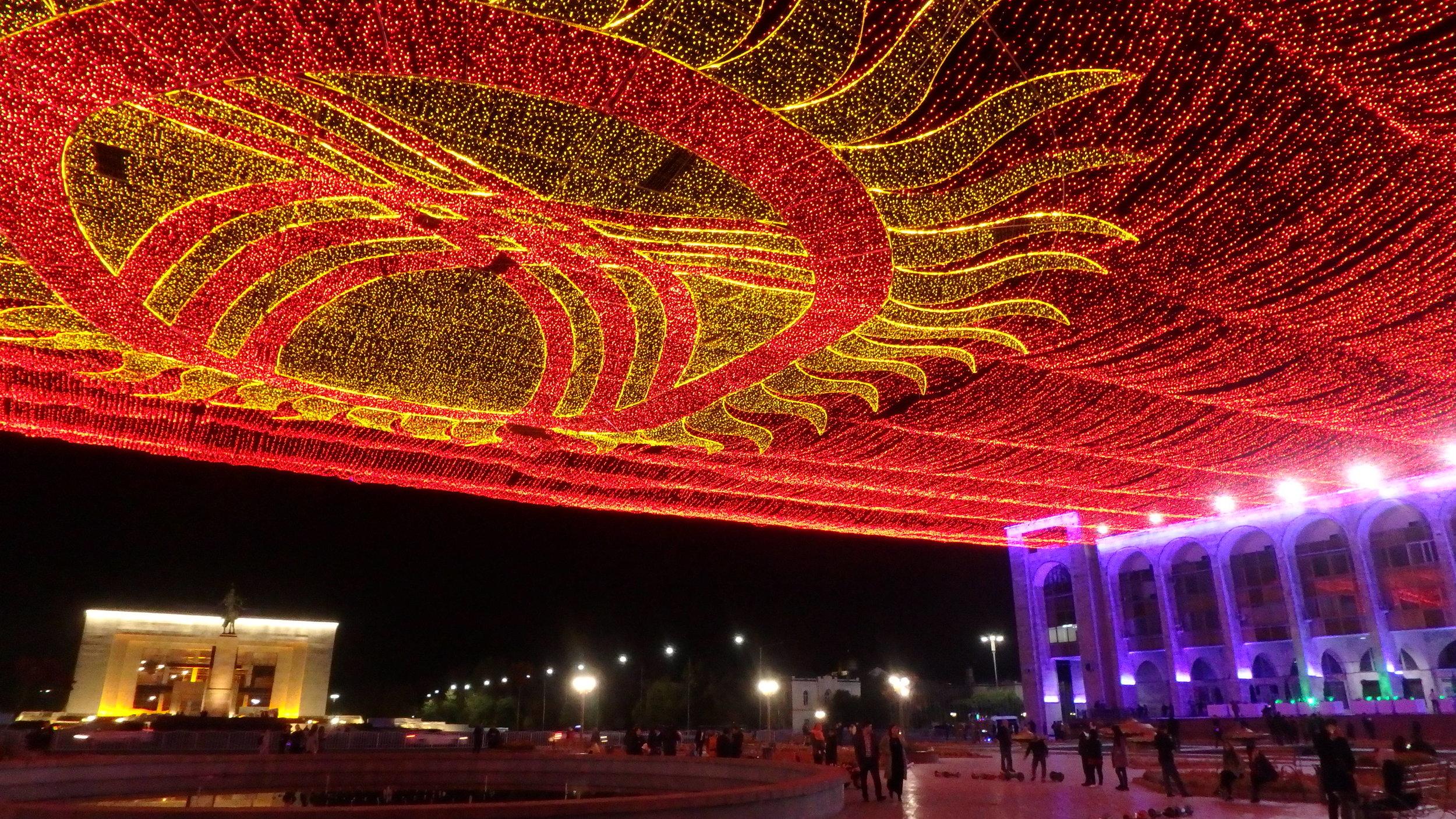 A bajillion shiny lights draped over Ala-Too Square, Bishkek.