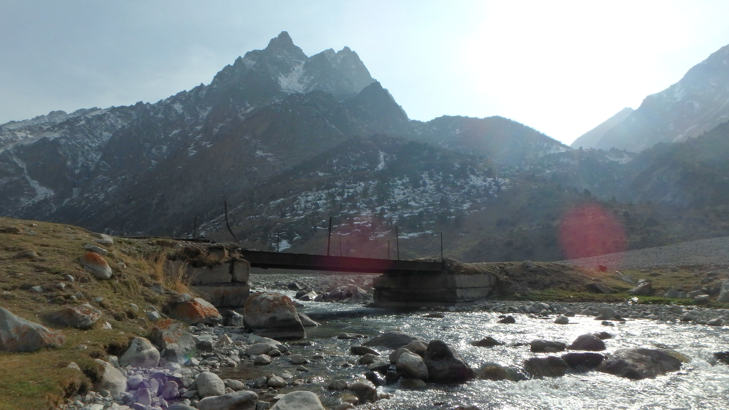 A bridge over crystal waters, can't-remember-the-name-of-the-canyon, near Bishkek.