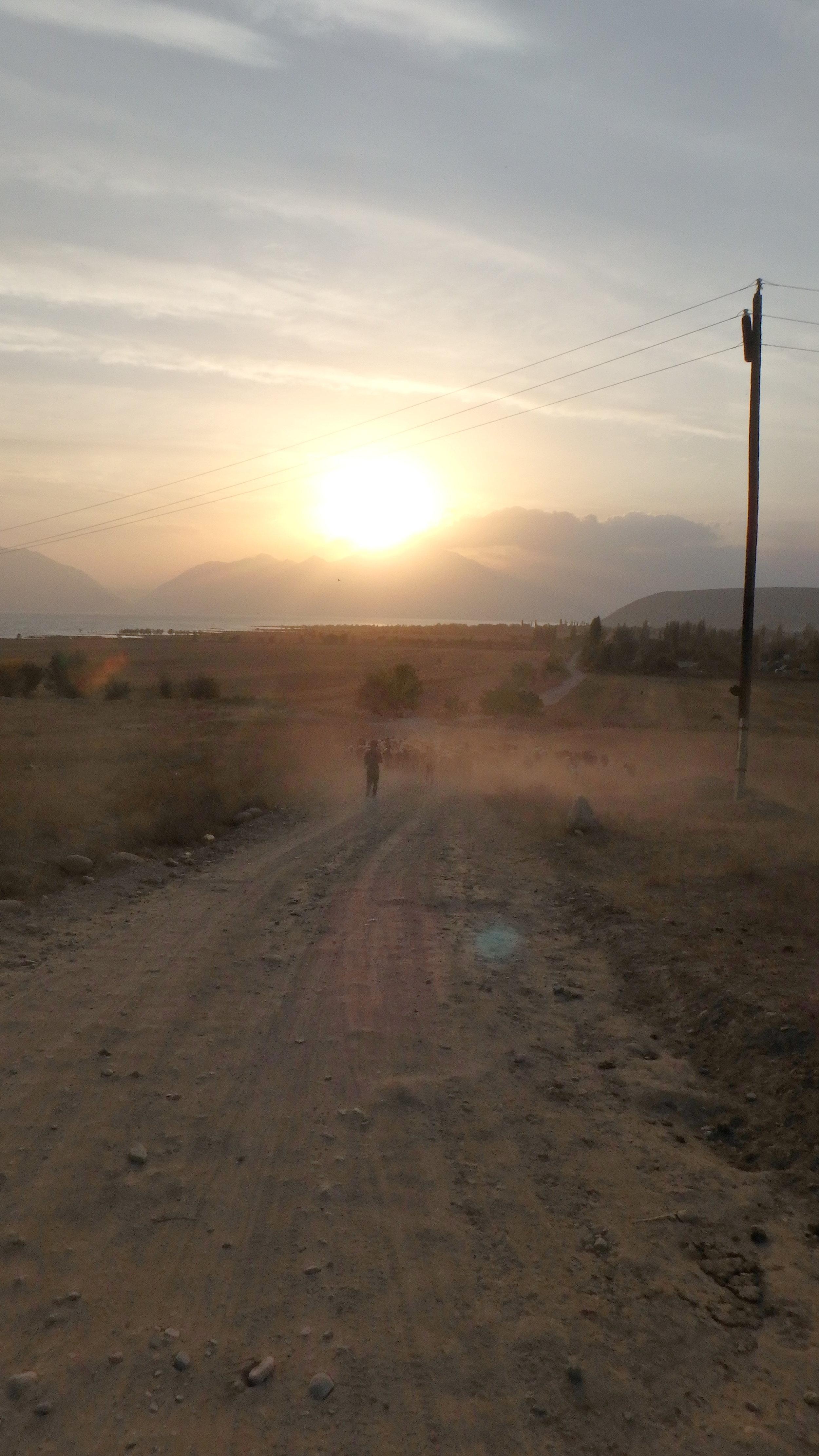 A dusty sunset near Toktugul.