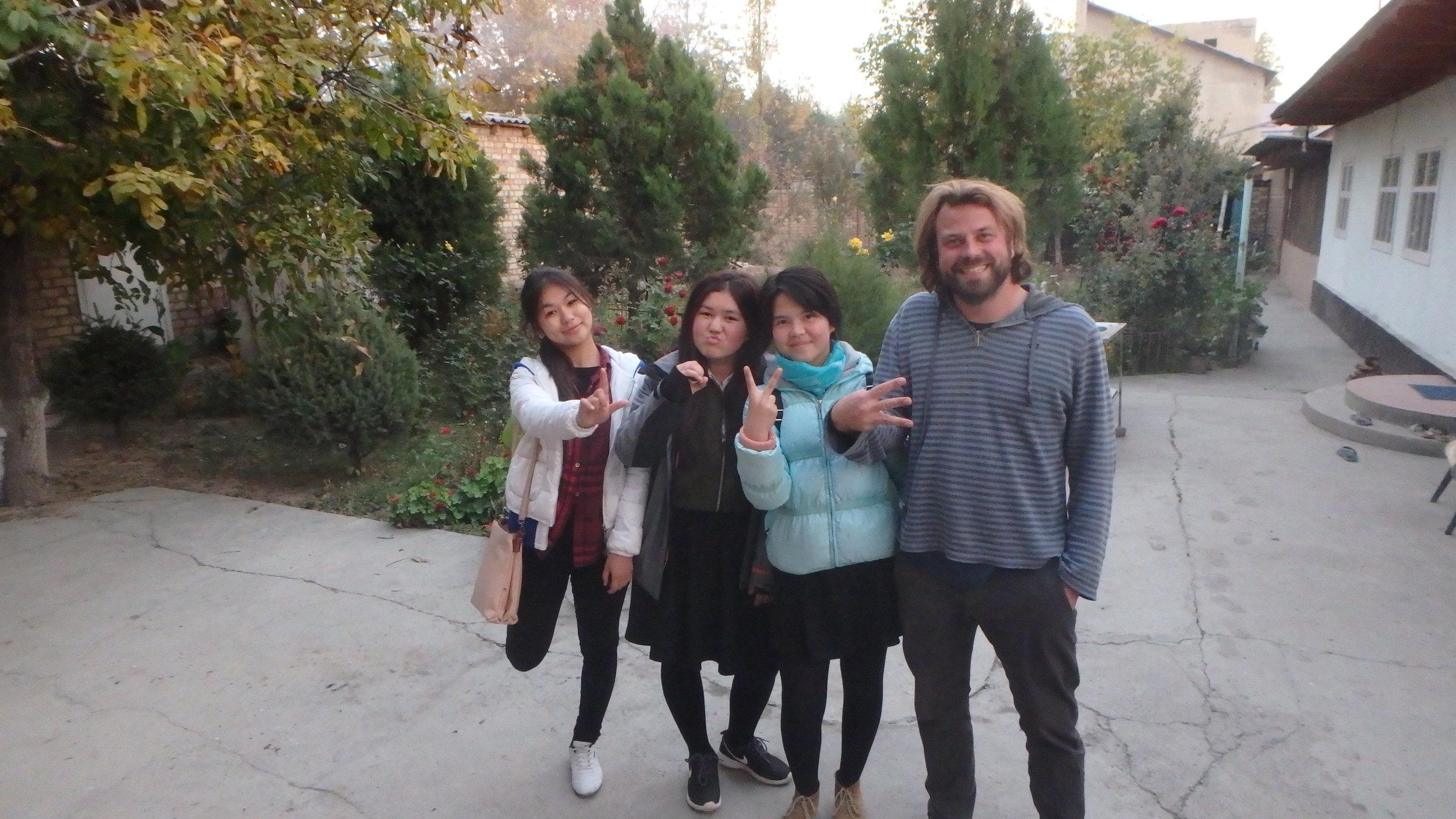 English students teaching me how to take a good photo, Toktugul. (L-O-V-E).