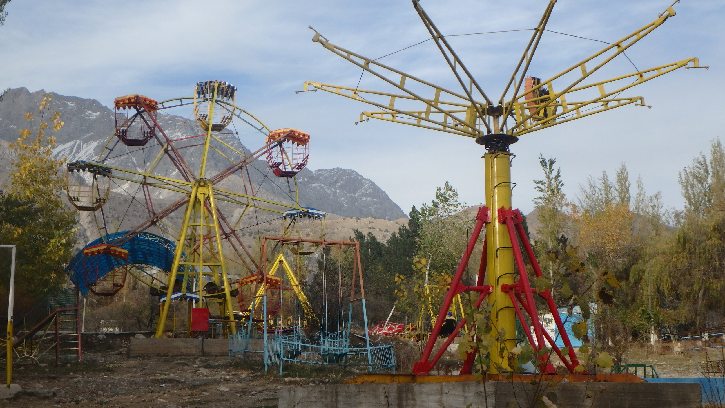 Dilapidated fun park, Arslanbob.