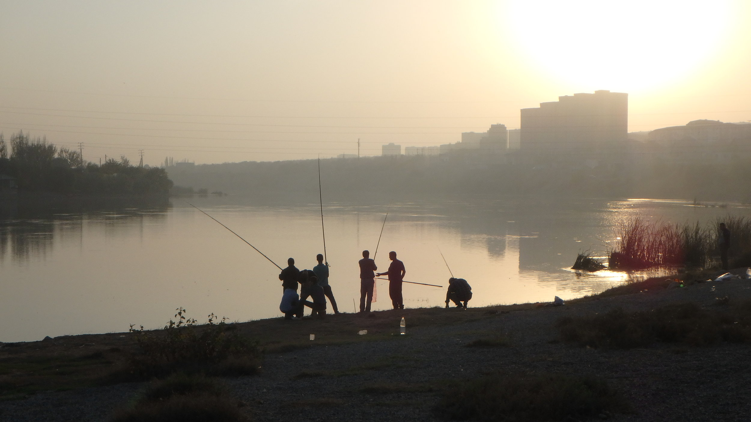 Some serious fishing on the Syr Darya River, Khujand.