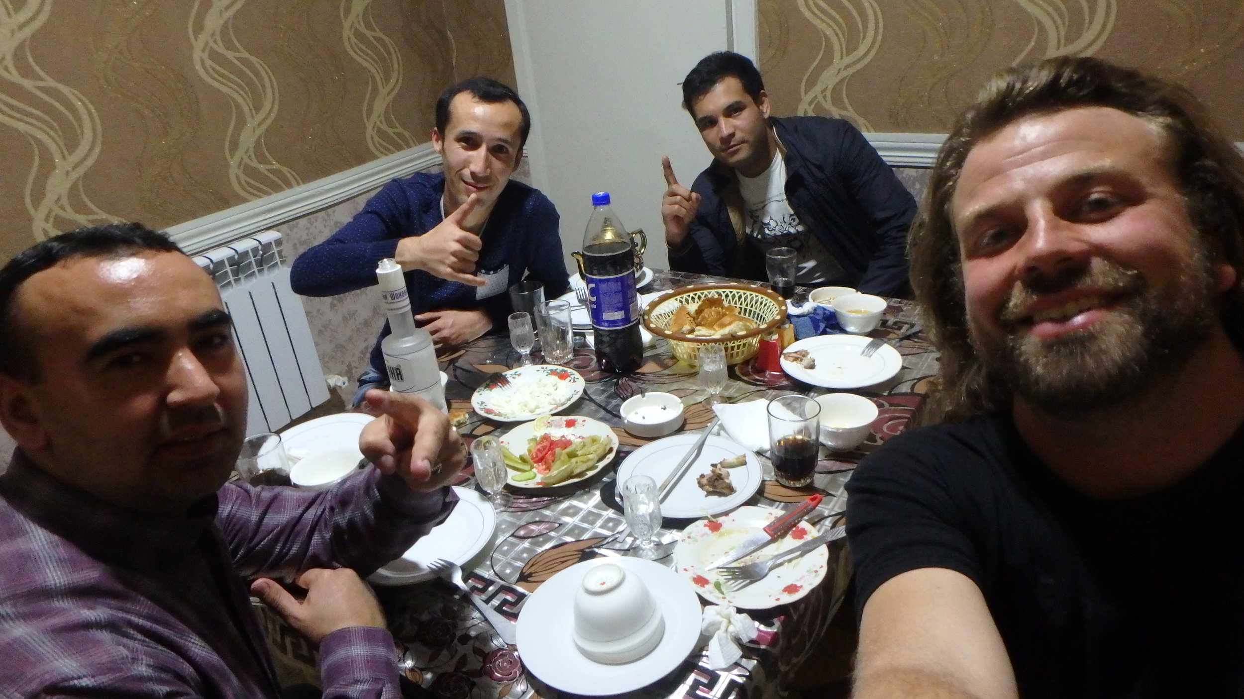Vodka, shashlyk, and pickles with my Khujand party bros.