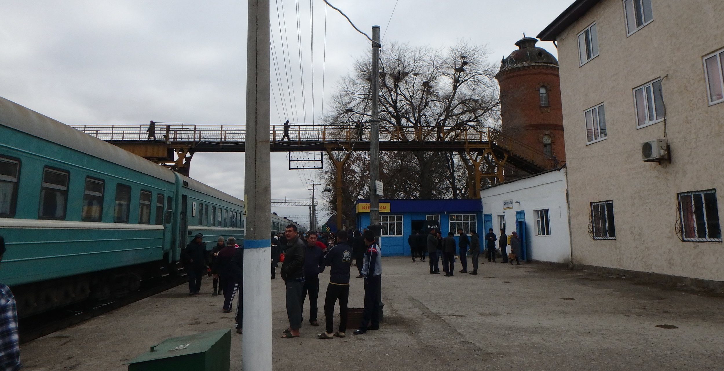 Loitering at a station in western Kazakhstan.