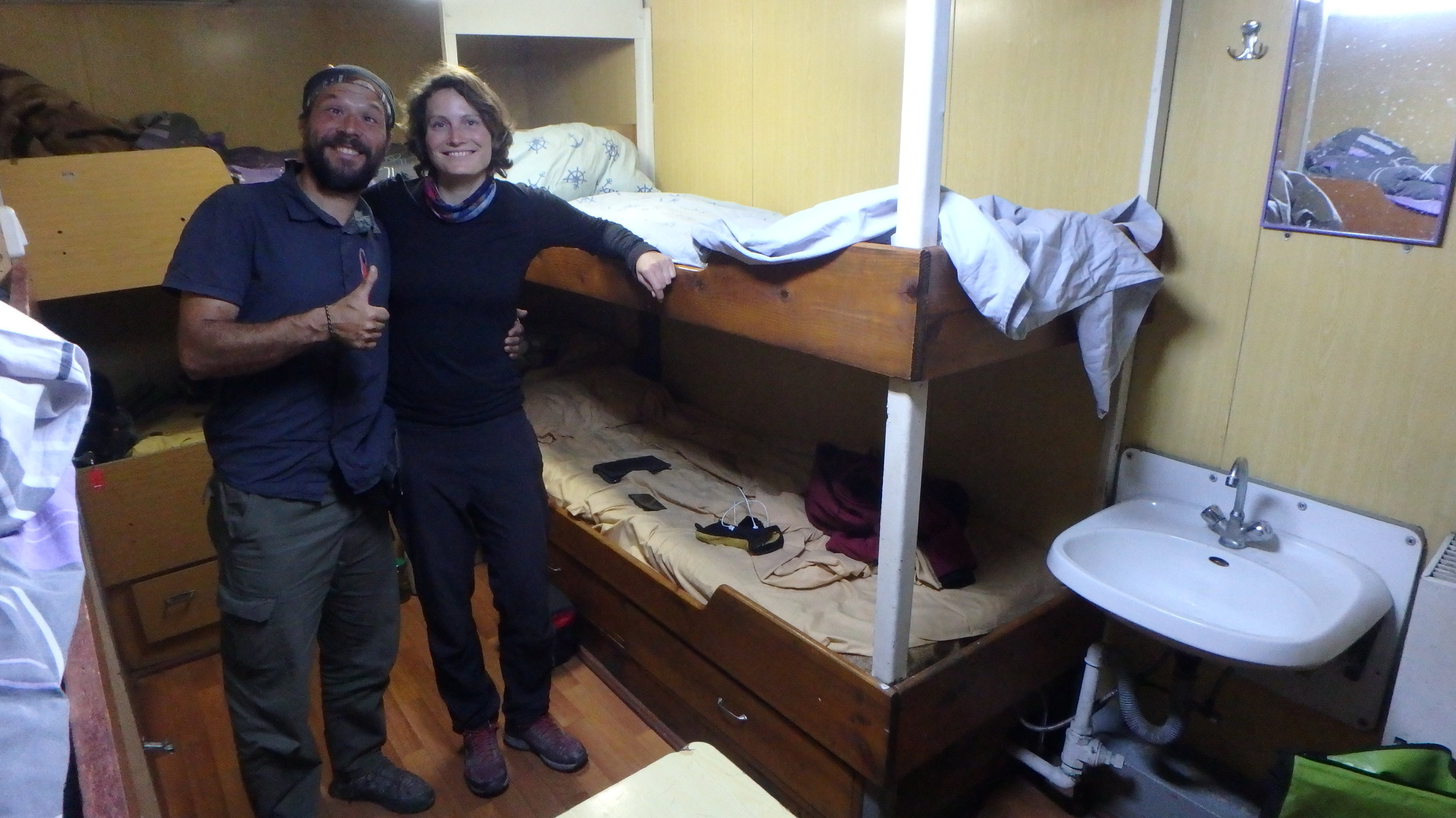 Sera and Marlene, from Spain and Germany, respectively, had been cycling across Asia for over a year and visiting national parks to interview, learn, and teach about nature preservation around the world. We shared a great time aboard the ship and became good companions rather quickly. This is our cabin on the boat.