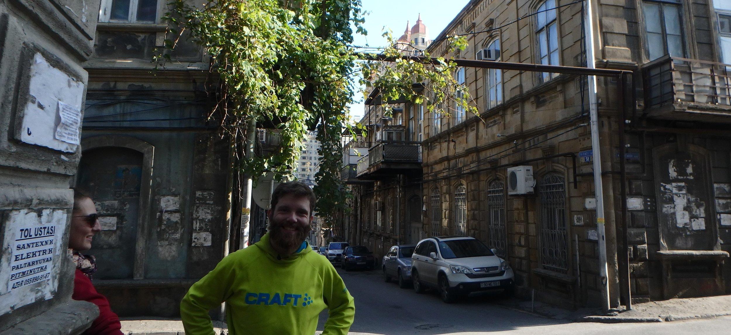 Sven and Clautilde, fellow passengers on the Fikret Emirov, exploring Baku with me.