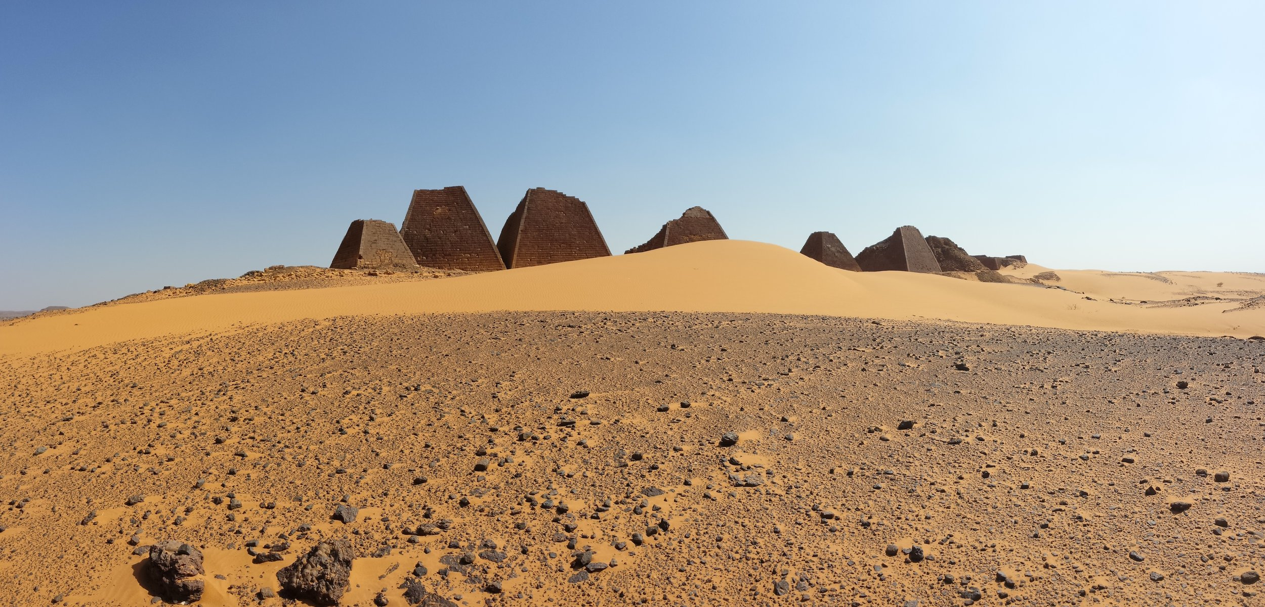 The tops of the Pyramids of Meroe were knocked off by some Italian jackass looking for gold in the 1800s.