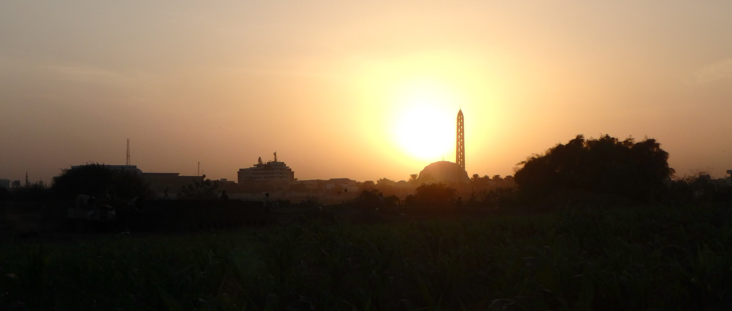 Sunset and Khartoum skyline.