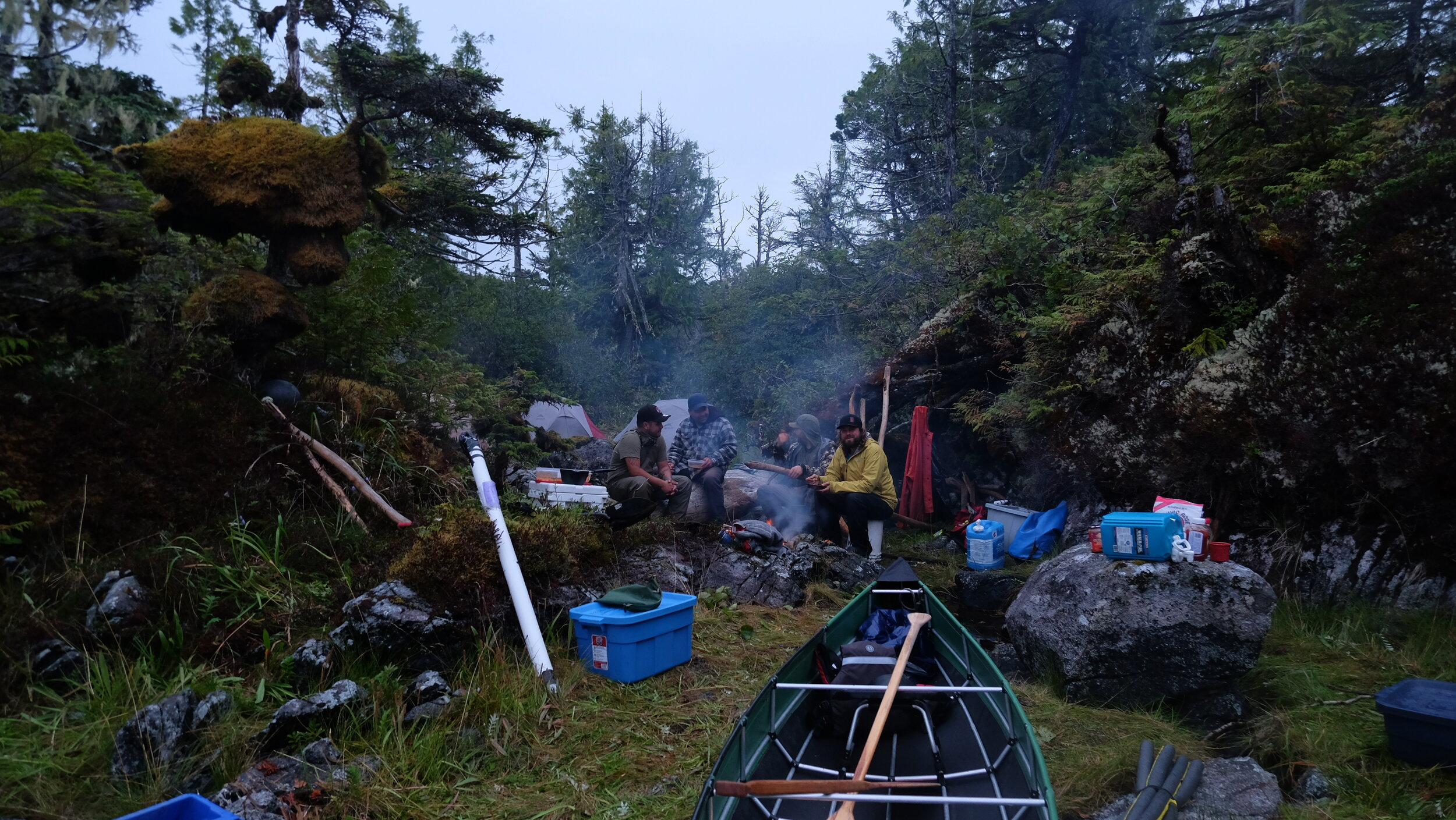 Camp life consisted substantially of trying to stay warm and dry during late summer storms. Photo by J.K. Earnshaw.