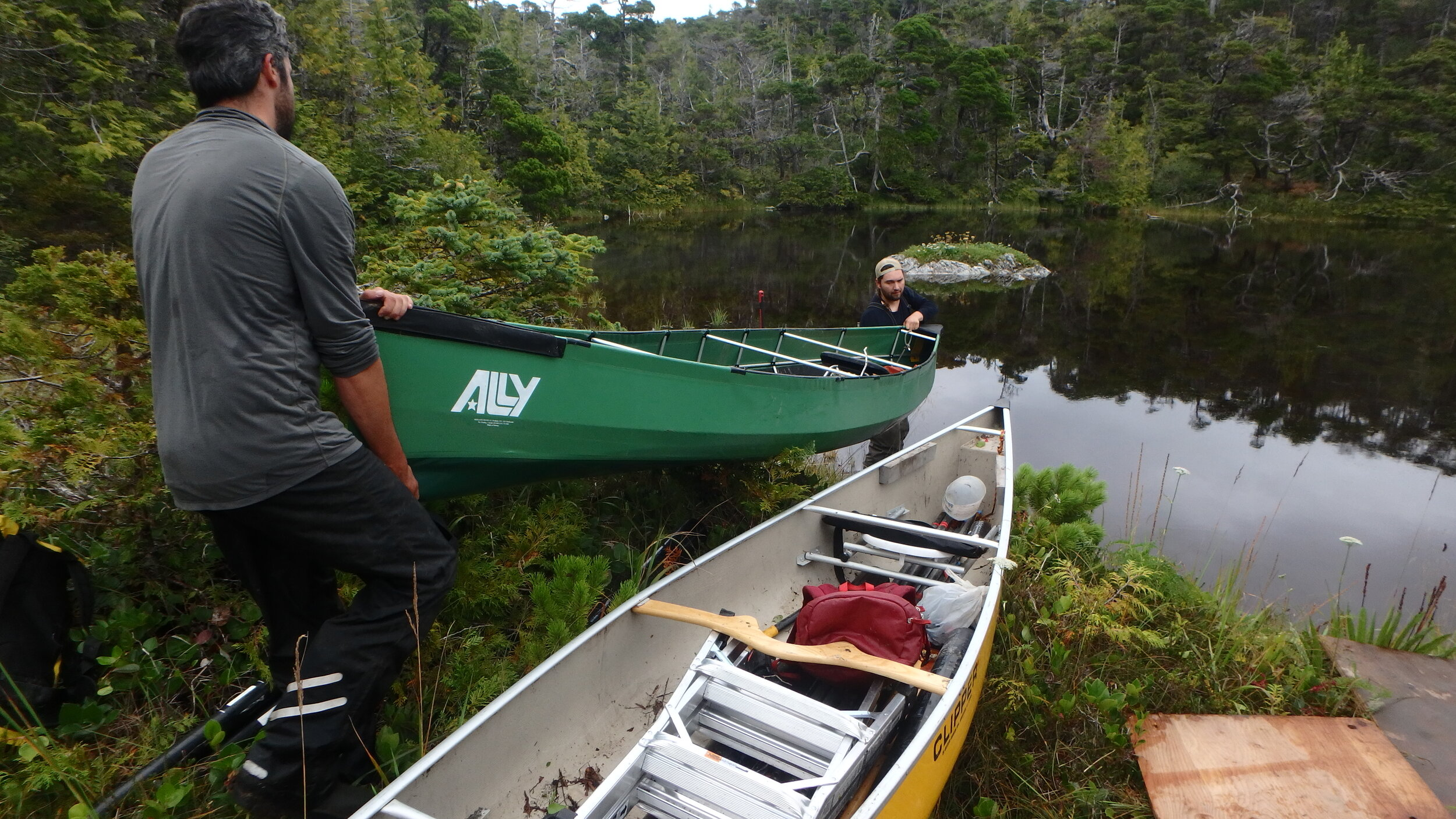 Often we had to portage our canoes and gear through the forest to get to the ponds for coring.