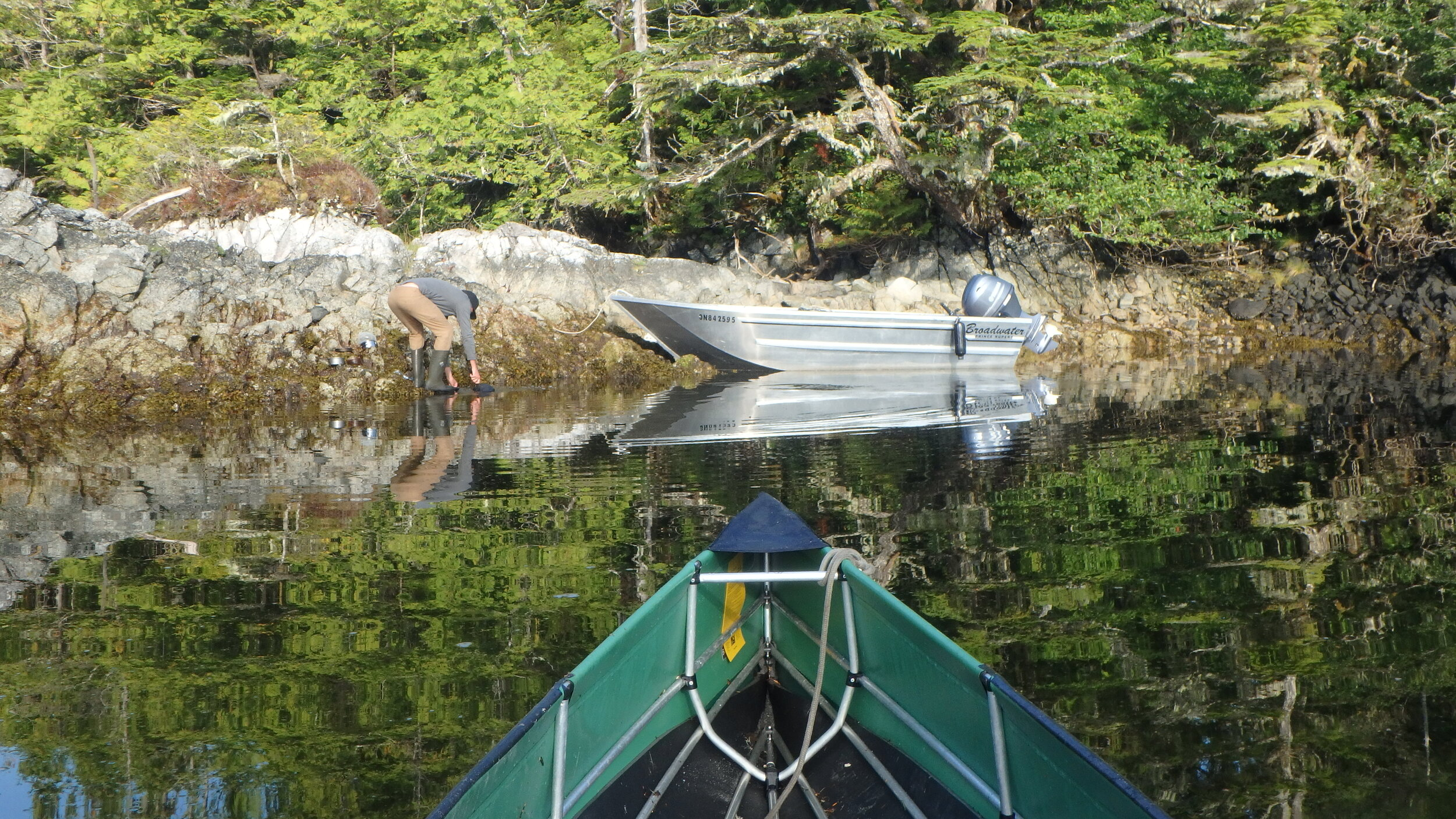 We made camp in a sheltered anchorage on northernmost island, and mostly moved about by canoe and aluminum skiff.