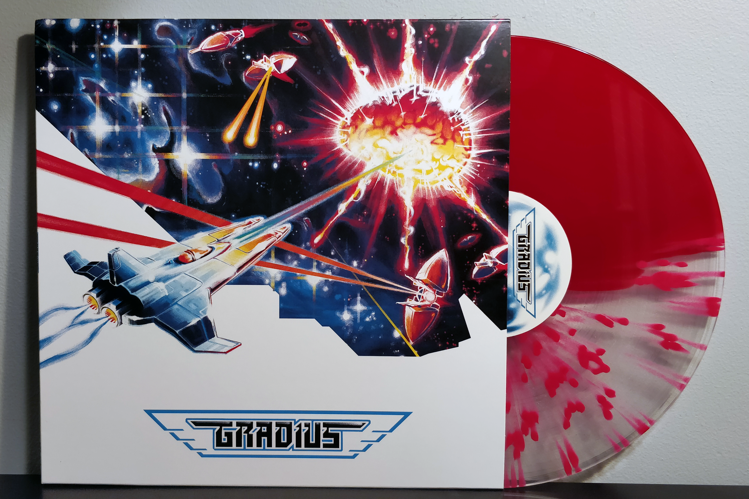 Gradius by Konami Kukeiha Club pressed on split splatter and transparent red by Ship to Shore PhonoCo.