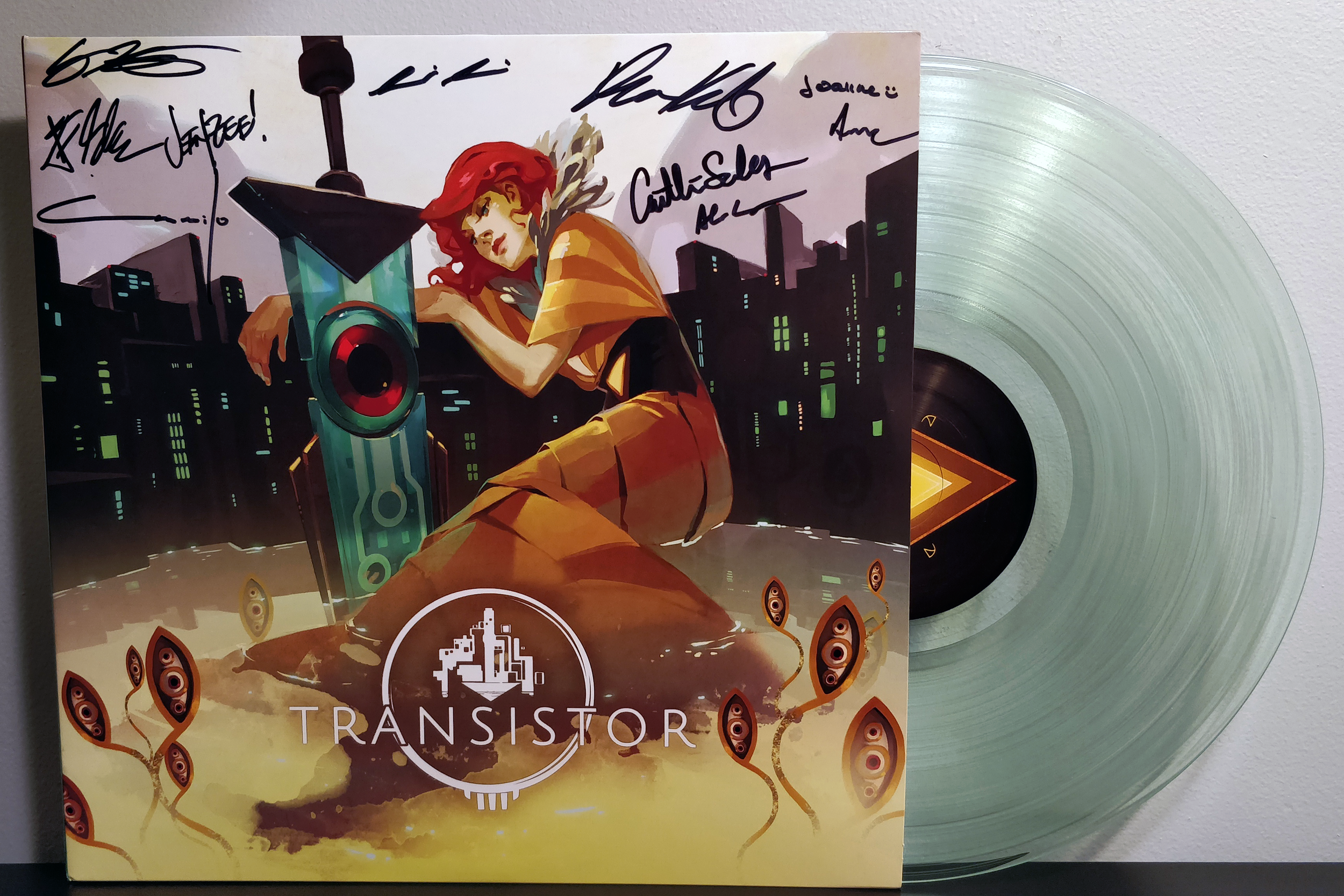 """Transistor by Darren Korb pressed on """"Coke-Bottle Clear"""" by Supergiant Games & Gotta Groove Records"""