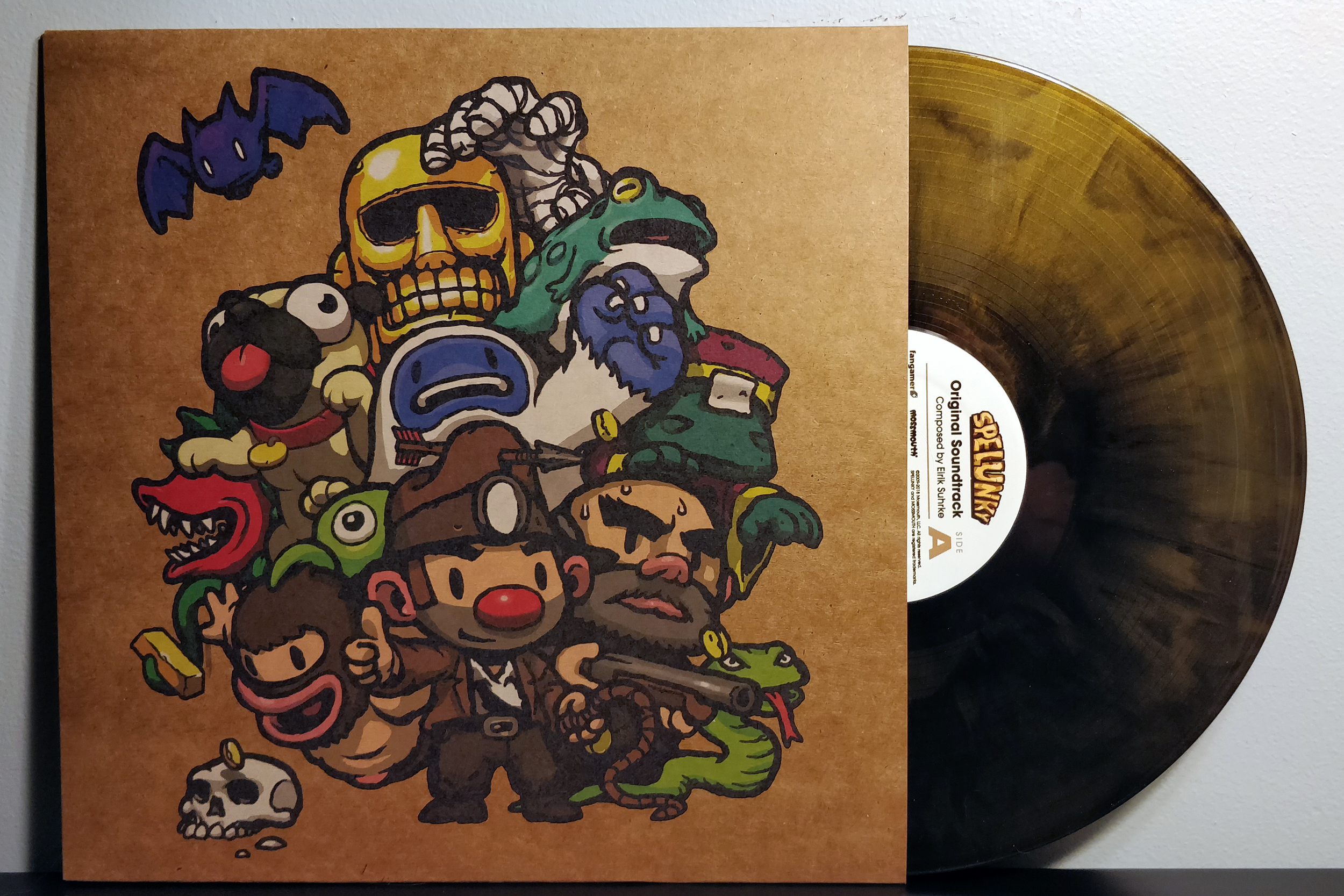 """Spelunky by Eirik Suhrke pressed on """"black and gold hand-poured vinyl"""" by Fangamer"""
