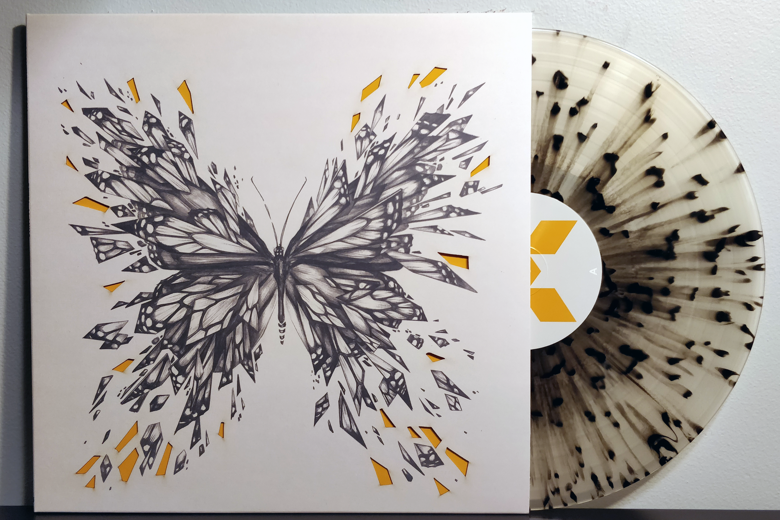 Quantum Break by Petri Alanko pressed on clear with black splatter vinyl by iam8bit