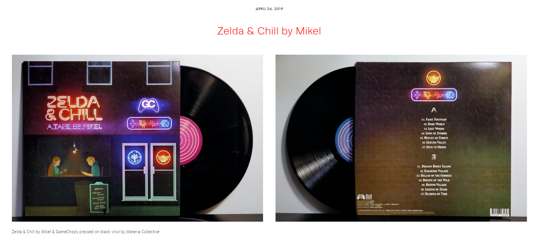"Review #31 - ""From the wind swept fields of Hyrule to your turntable at home, what Mikel and the team at GameChops and Materia Collective have achieved here is pure Zelda bliss."""
