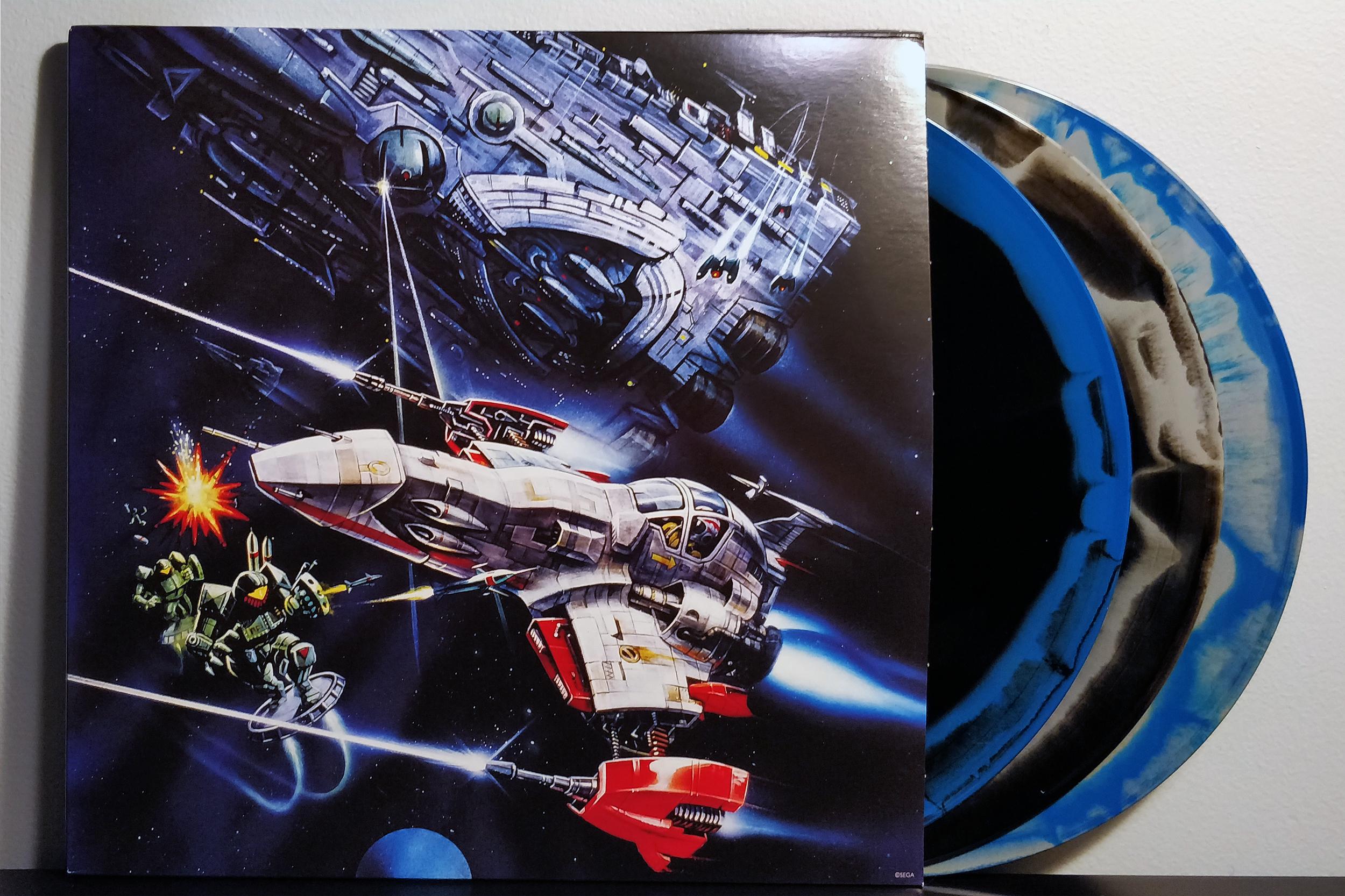 Thunder Force IV by Takeshi Yoshida & Toshiharu Yamanishi pressed on Limited Edition Blue, Black & Grey Swirl Combo by Data Discs
