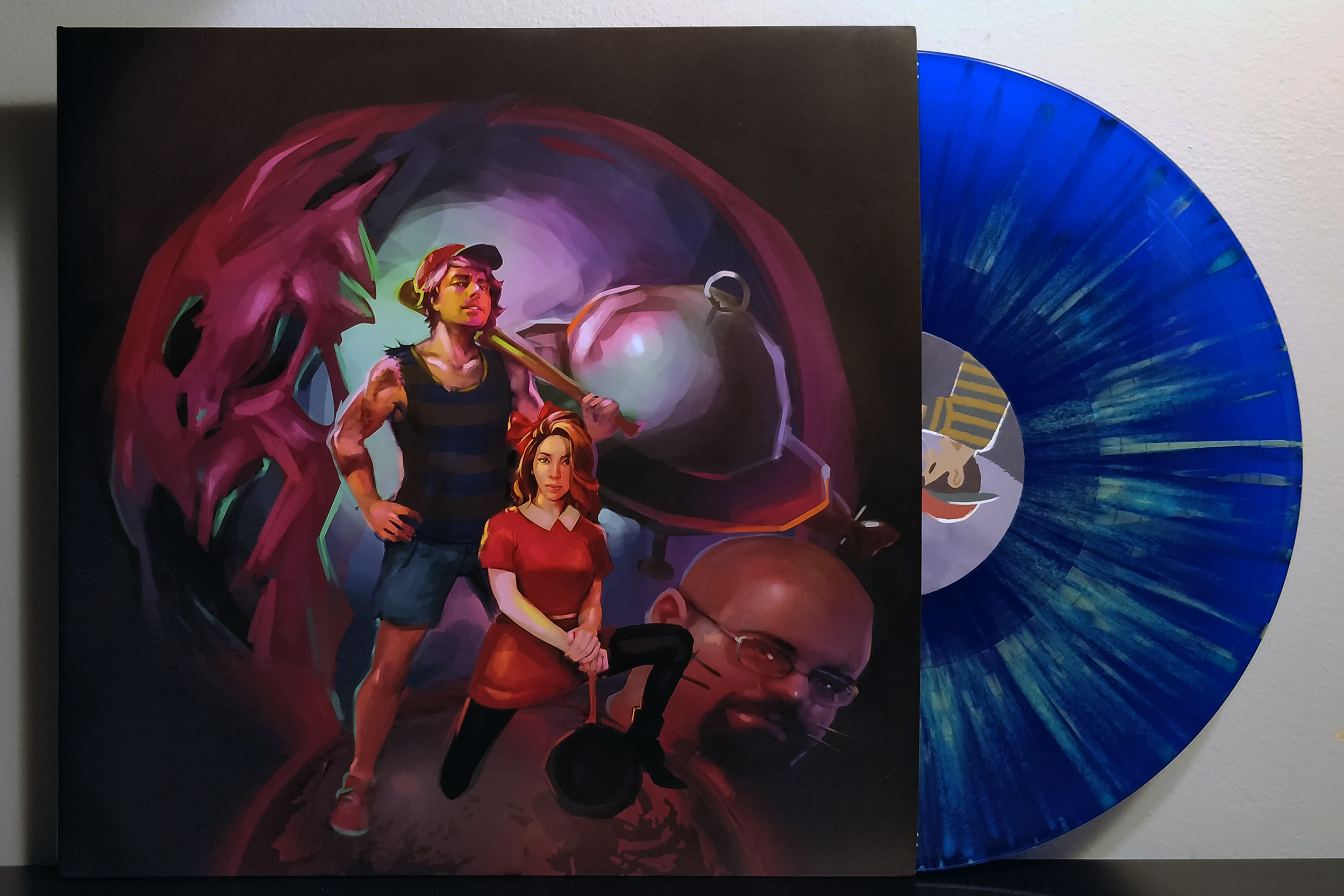 Mother Fucking Earthbound by ErichWK pressed on transparent blue with green splatter vinyl by Debug Records