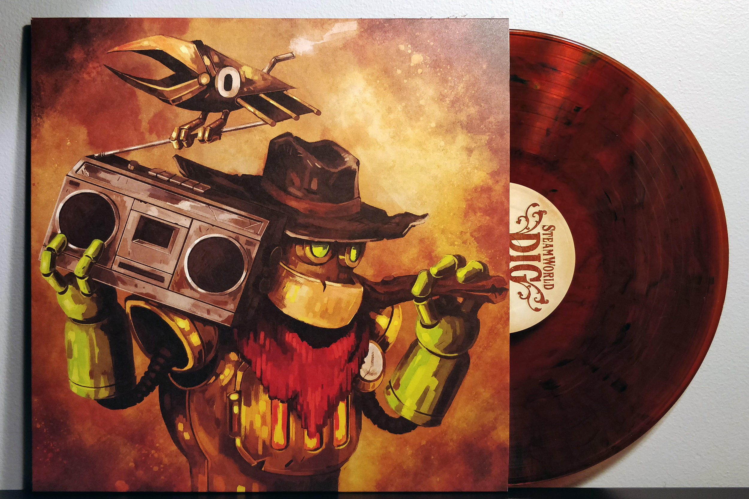 "SteamWorld Dig by Jonas Kjellberg & H.M. Hammarin pressed on ""Dirt -Brown"" vinyl by Fangamer"
