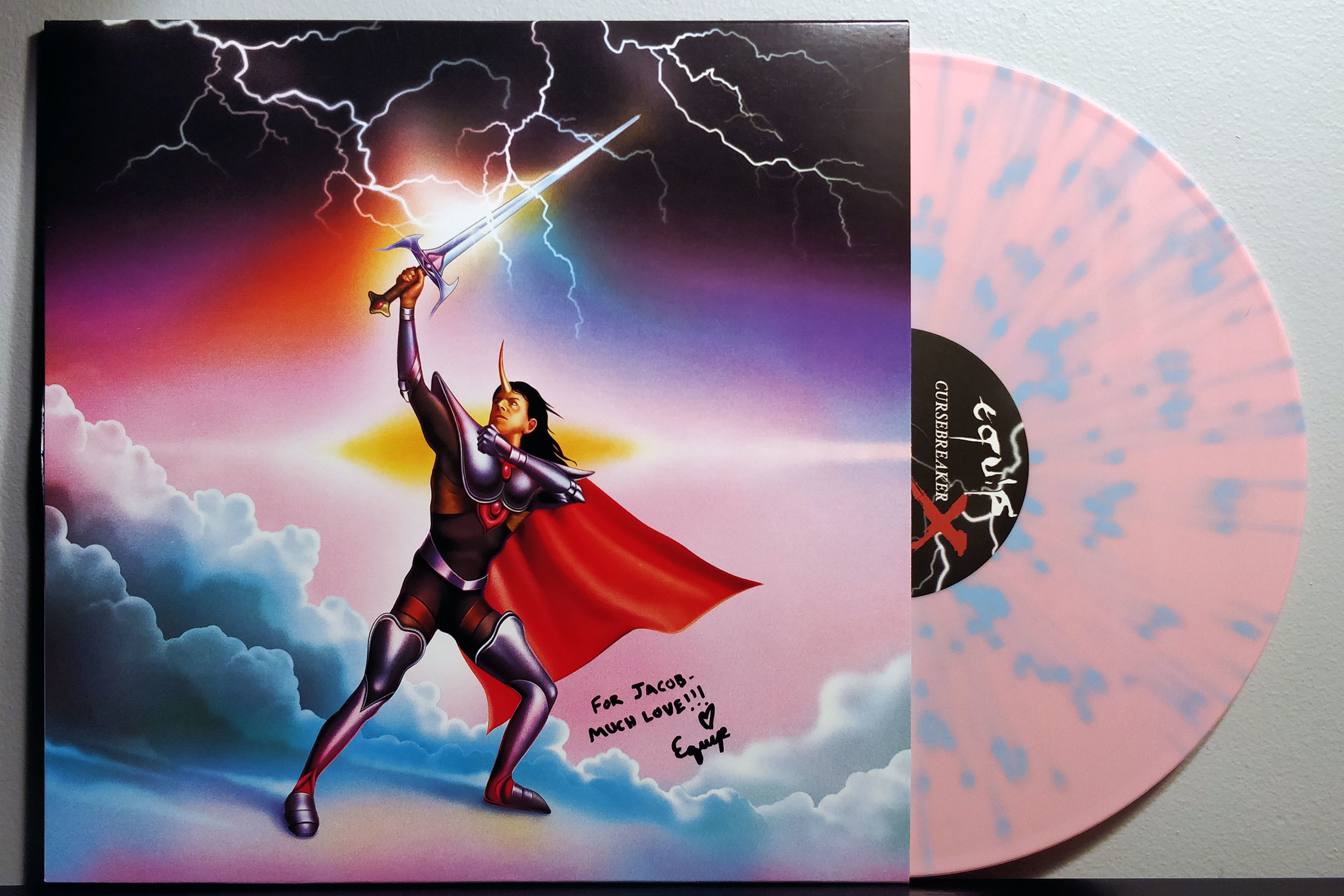 Cursebreaker X by EQUIP pressed on pink with blue splatter vinyl by 100% Electronica